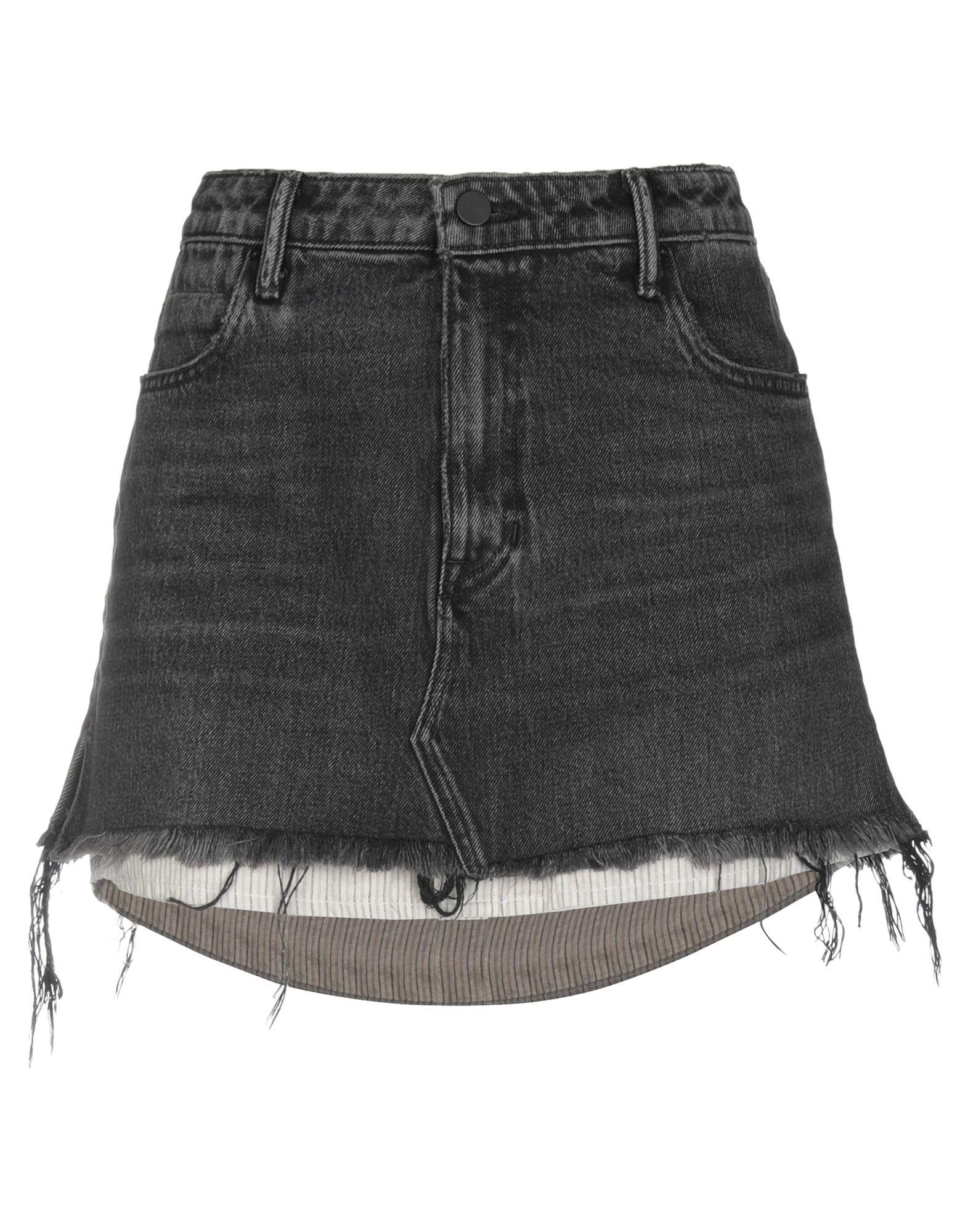 《セール開催中》ALEXANDER WANG レディース デニムスカート ブラック 26 コットン 100%