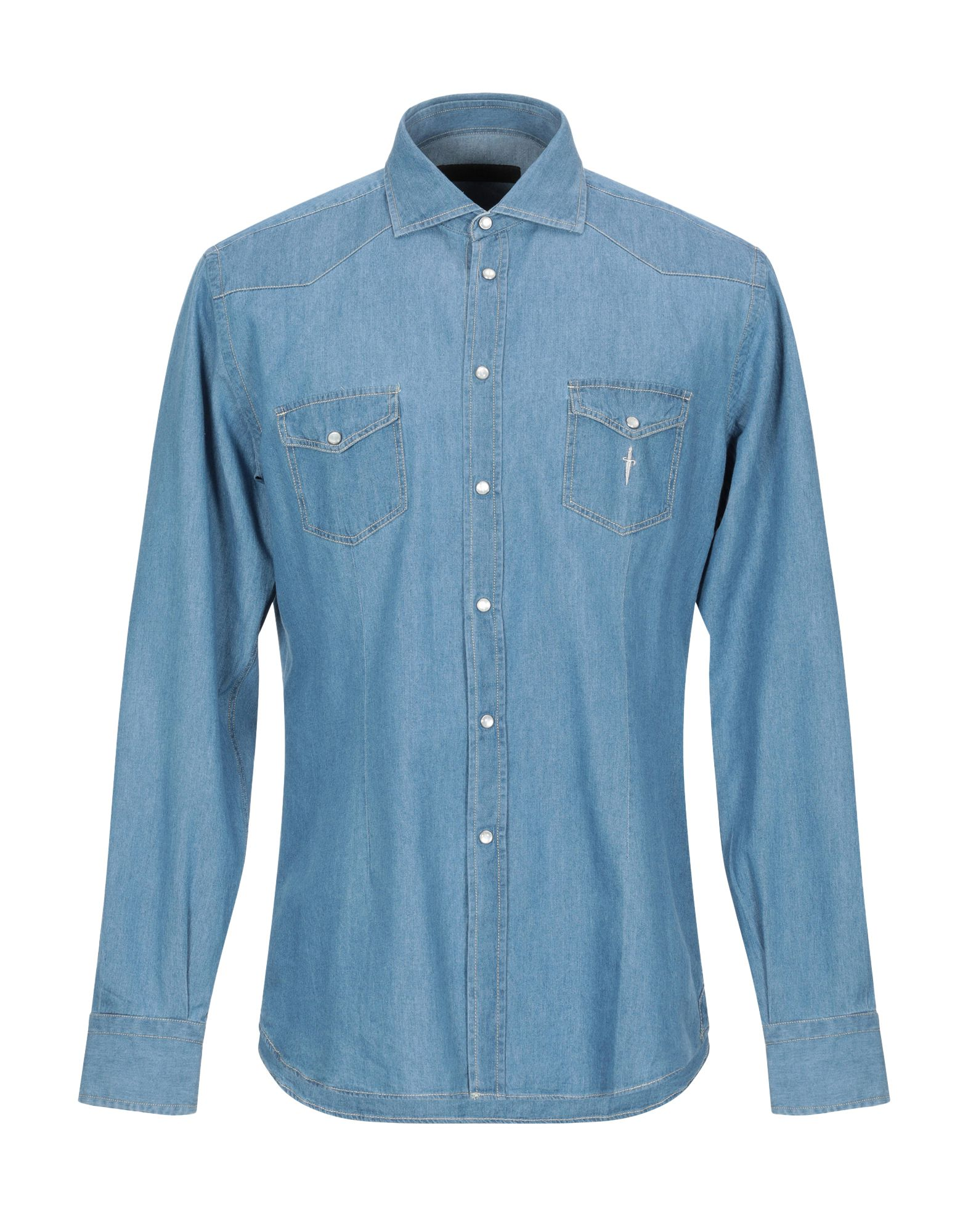 CESARE PACIOTTI 4US Джинсовая рубашка недорго, оригинальная цена