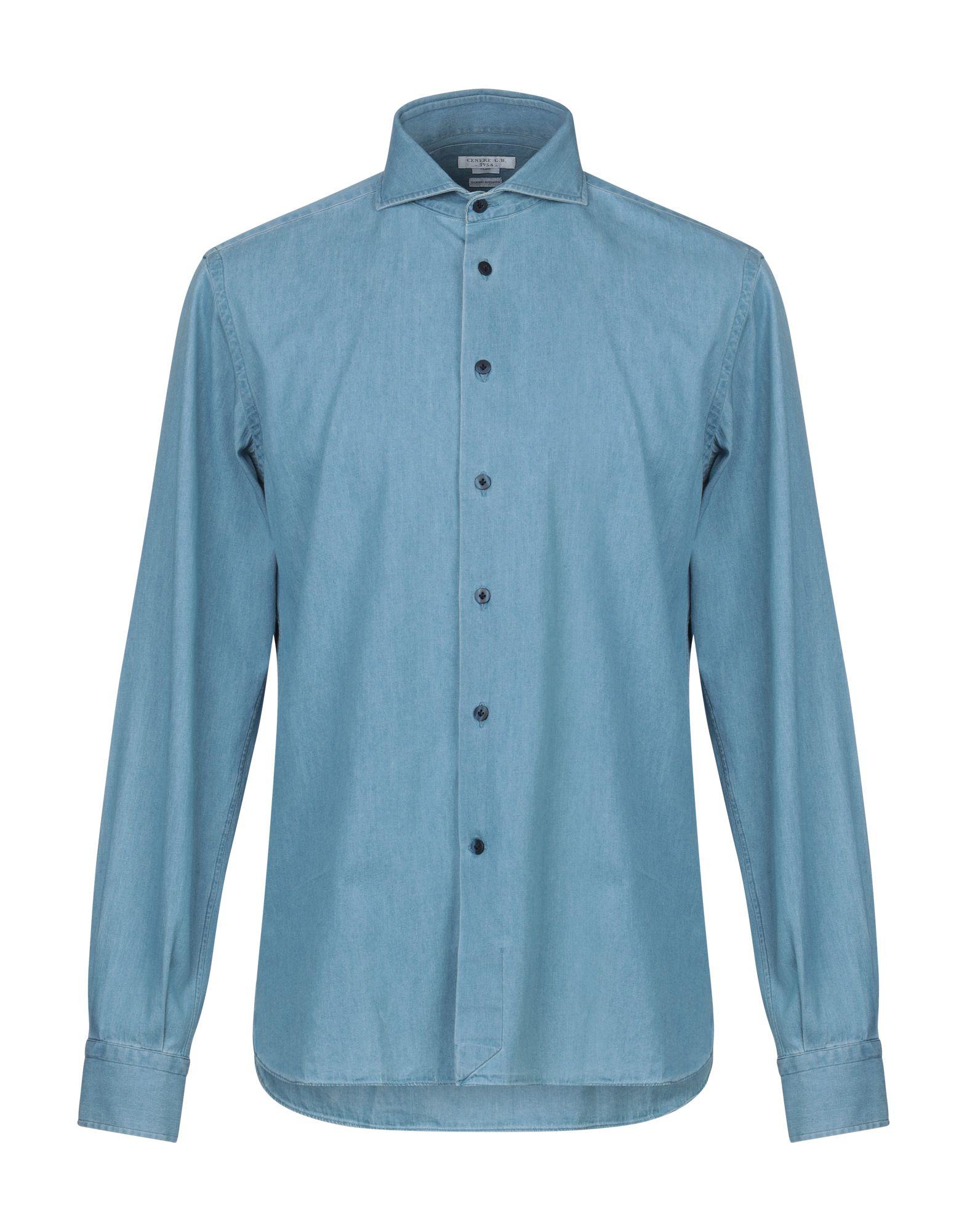 《期間限定セール中》G.B. CENERE メンズ デニムシャツ ブルー 42 コットン
