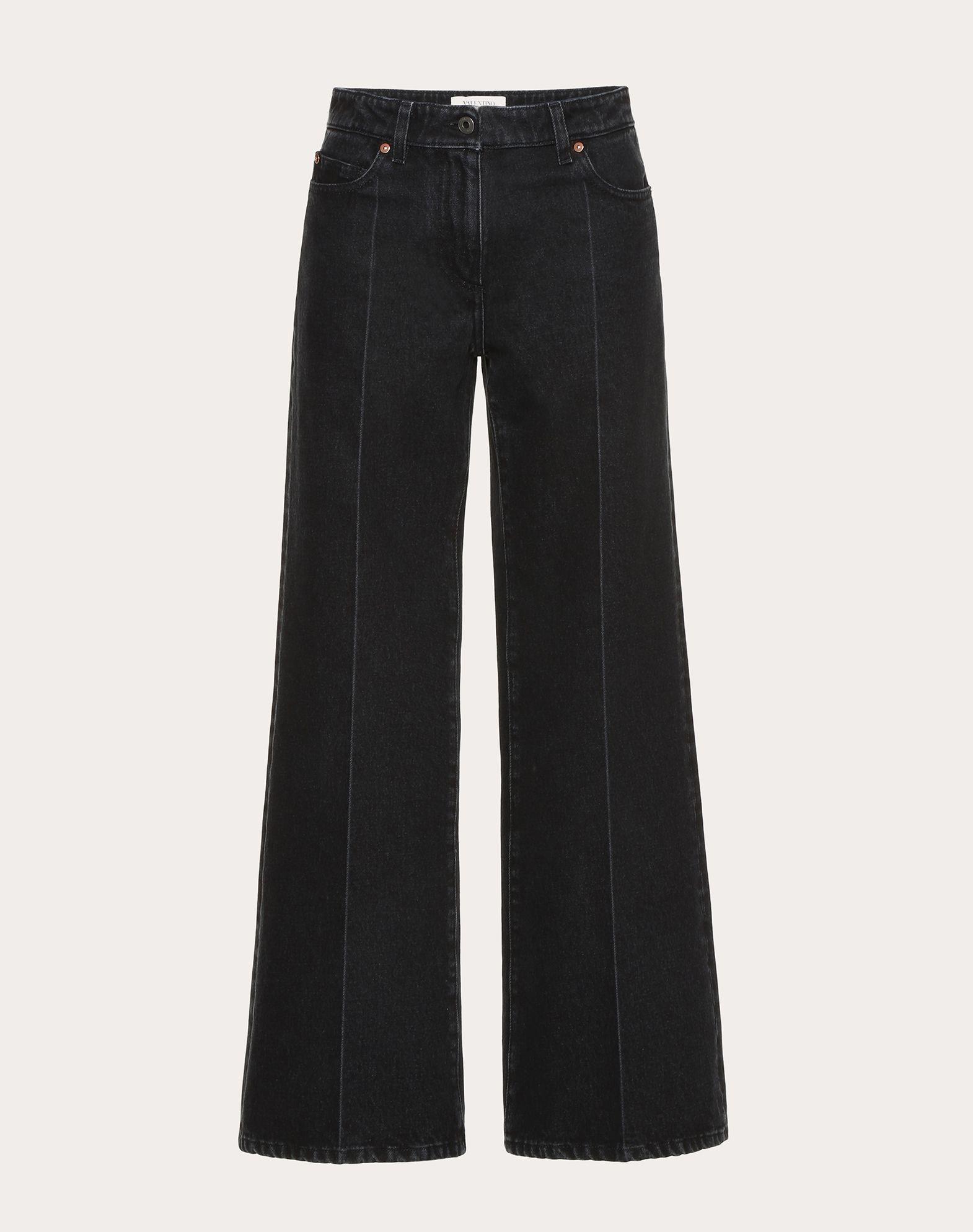 Schwarze Jeans mit dekonstruiertem VLOGO