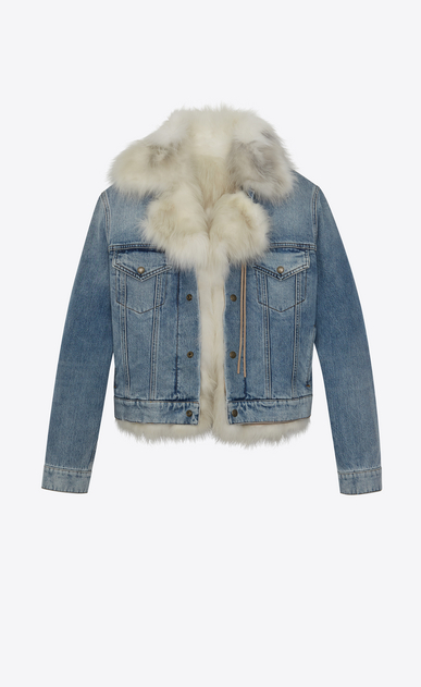 Denim jacket doublée en fourrure