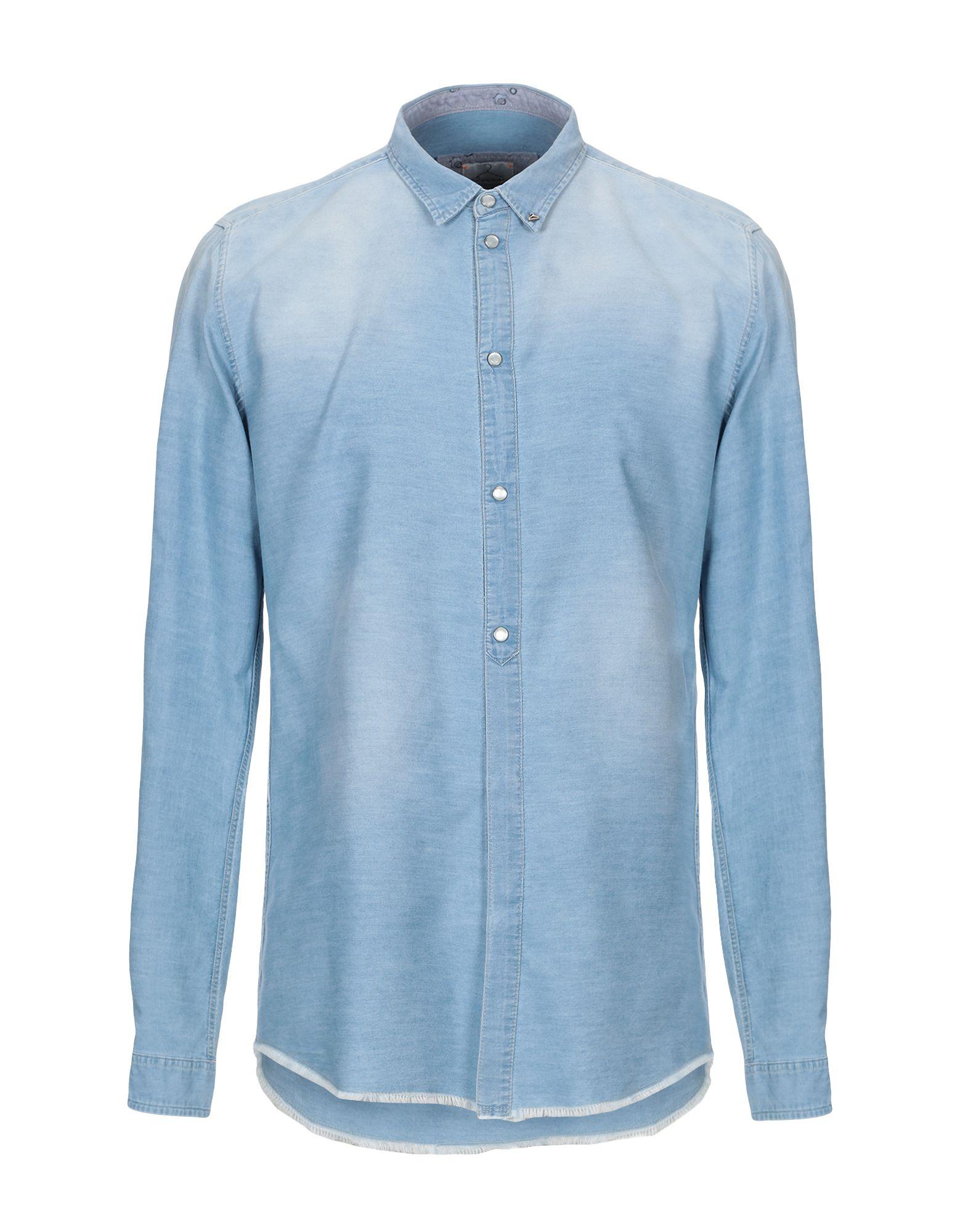 《期間限定セール中》BERNA メンズ デニムシャツ ブルー L コットン 100%