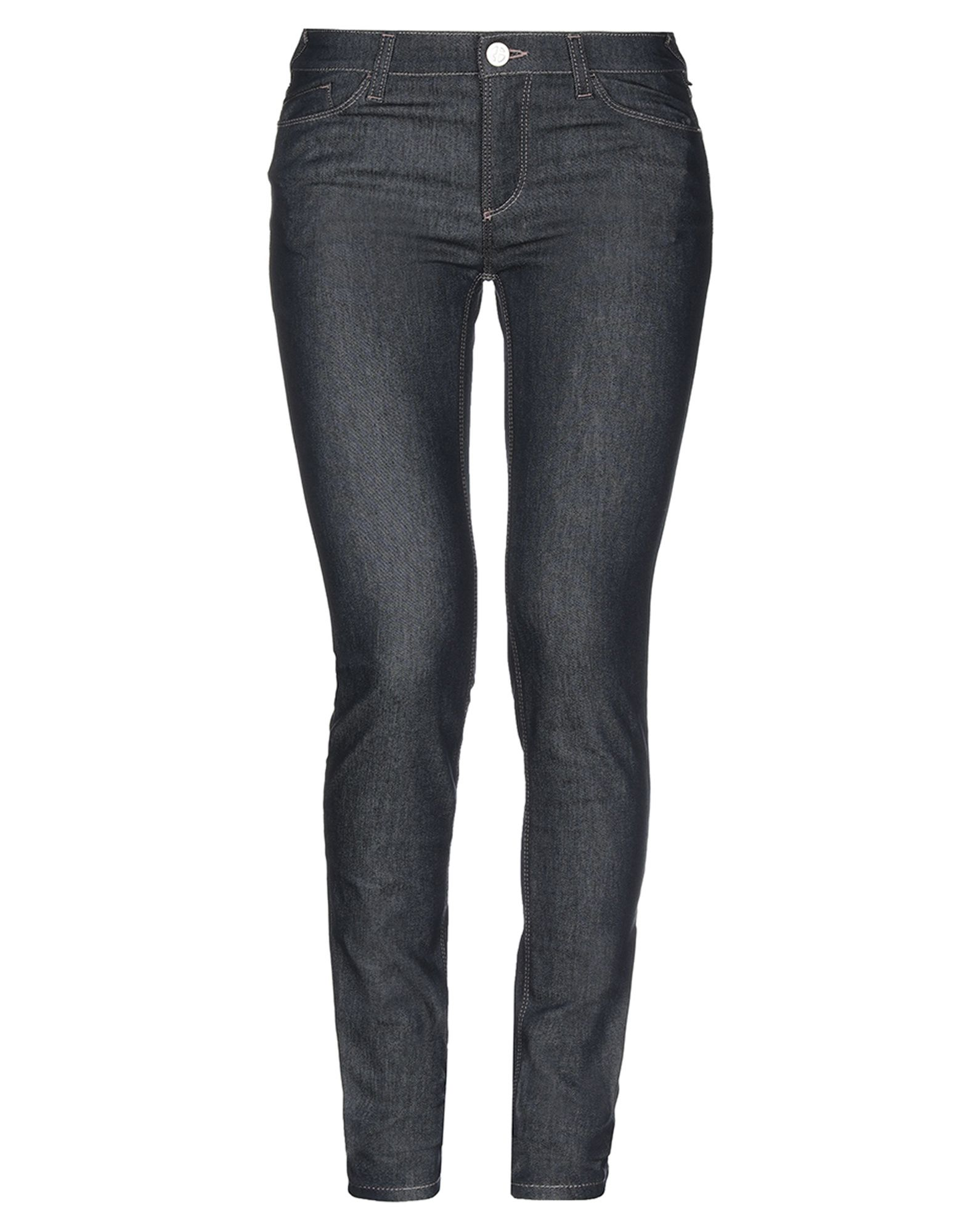 GIORGIO ARMANI Jeans. denim, logo, solid color, medium wash, mid rise, front closure, button, zip, multipockets, stretch, slim fit. 67% Cotton, 31% Polyester, 2% Elastane