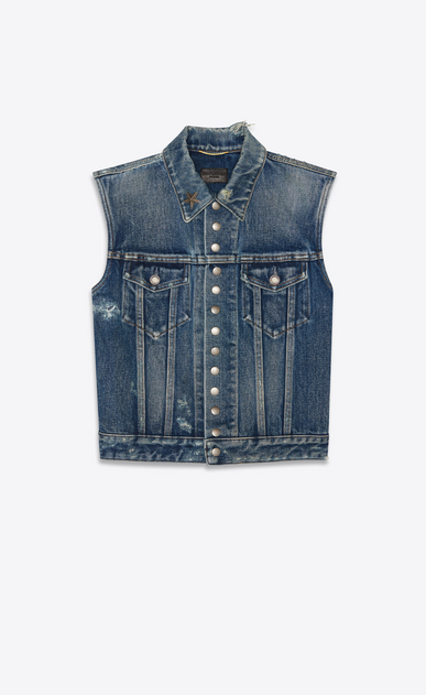 "denim jacket ""13 press buttons"" sans manches miami blue"