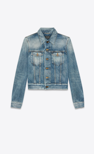 "Used medium blue denim jacket with worn-look ""YSL disco"" print on back"
