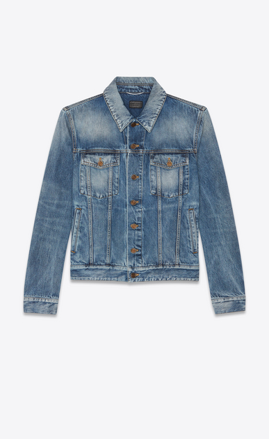 "Medium blue denim jacket with worn-look ""YSL disco"" print on back"