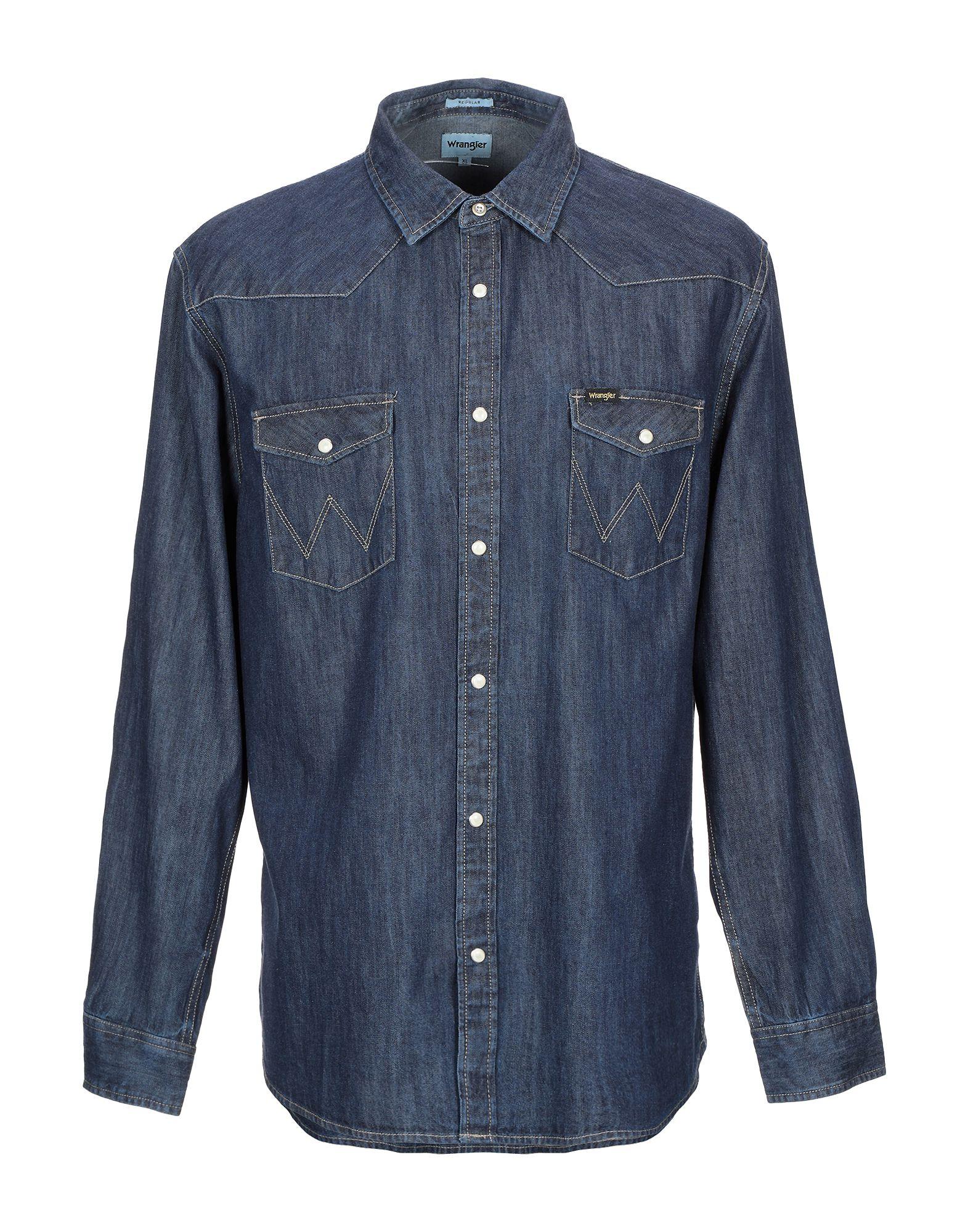 《セール開催中》WRANGLER メンズ デニムシャツ ブルー M コットン 100%