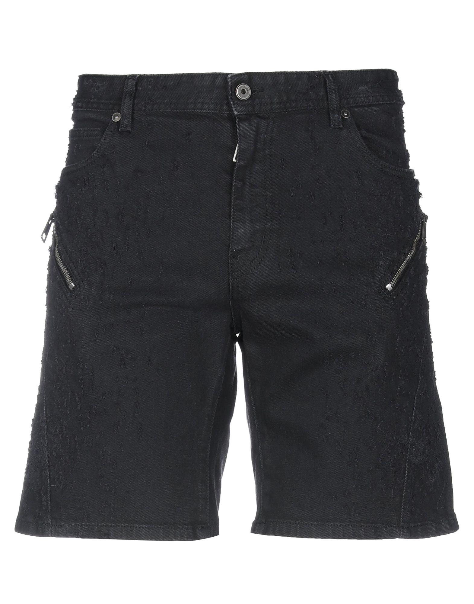《セール開催中》JUST CAVALLI メンズ デニムバミューダパンツ ブラック 29 コットン 98% / ポリウレタン 2%