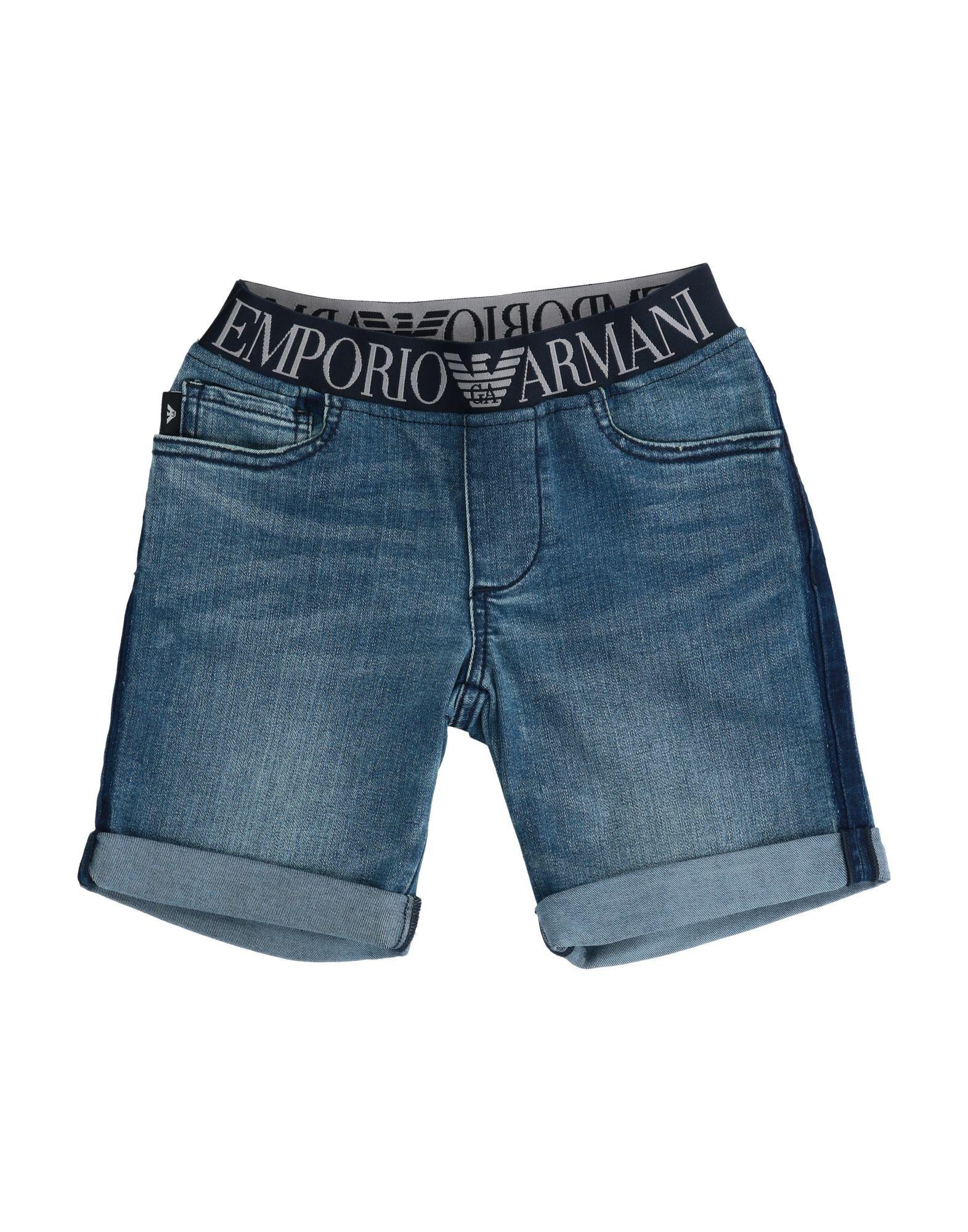 《セール開催中》EMPORIO ARMANI ボーイズ 9-16 歳 デニムバミューダパンツ ブルー 10 コットン 71% / ポリエステル 19% / レーヨン 8% / ポリウレタン 2%