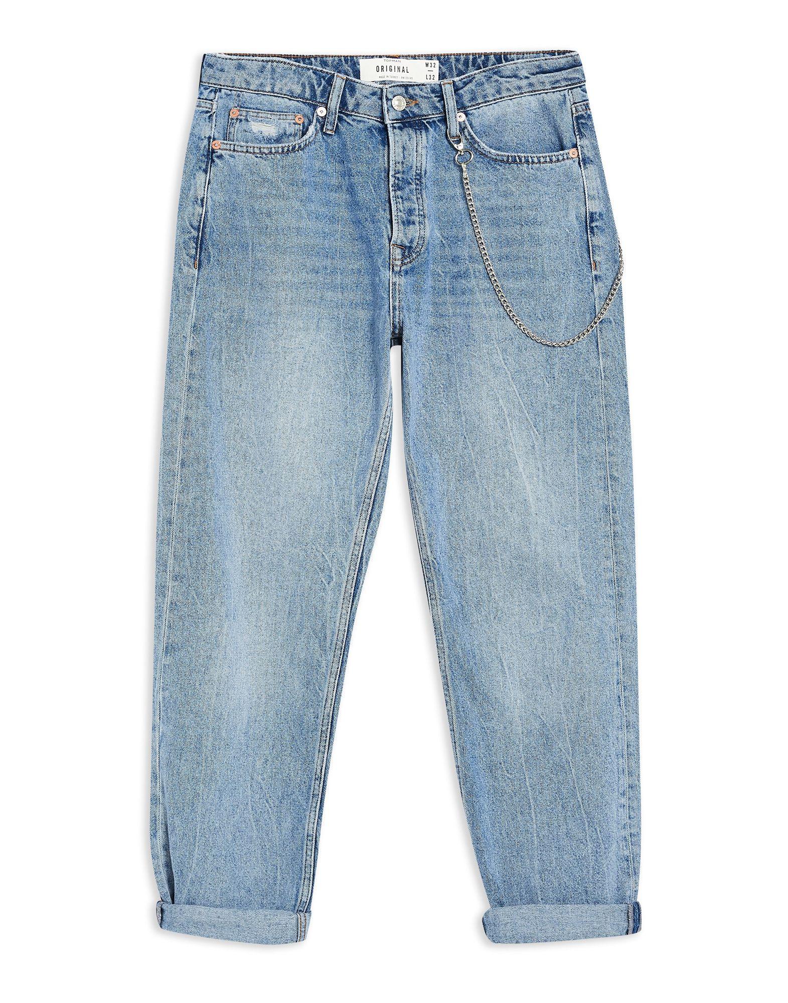 《セール開催中》TOPMAN メンズ ジーンズ ブルー 36W-32L コットン 100% Light Wash Original Chain Jeans