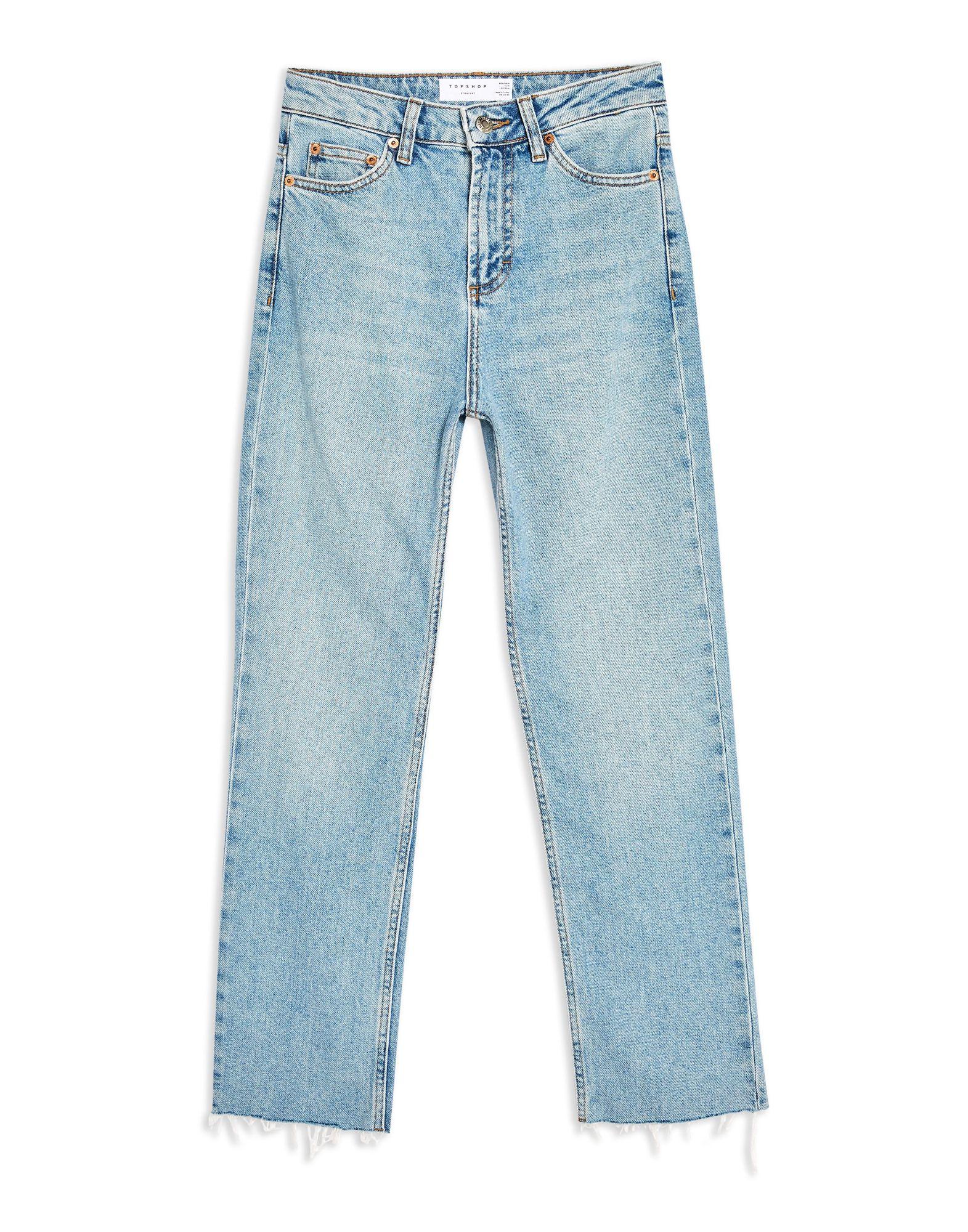 《セール開催中》TOPSHOP レディース ジーンズ ブルー 30W-32L コットン 92% / エラストマルチエステル 8% AUTHENTIC RAW HEM STRAIGHT LEG JEANS