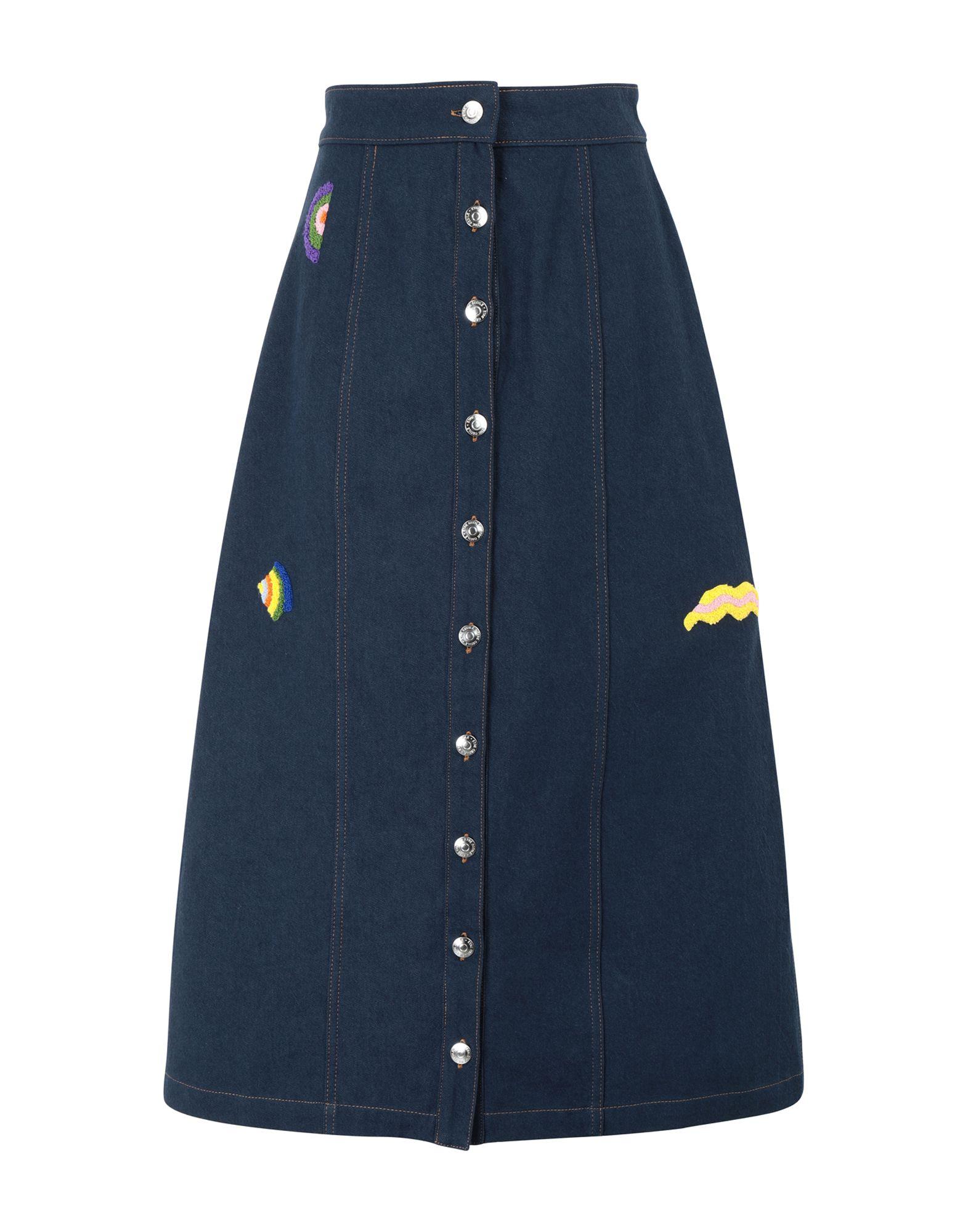 《セール開催中》?TRE C?CILE レディース デニムスカート ブルー XS コットン 100% WAVY SHAPES CELESTE SKIRT