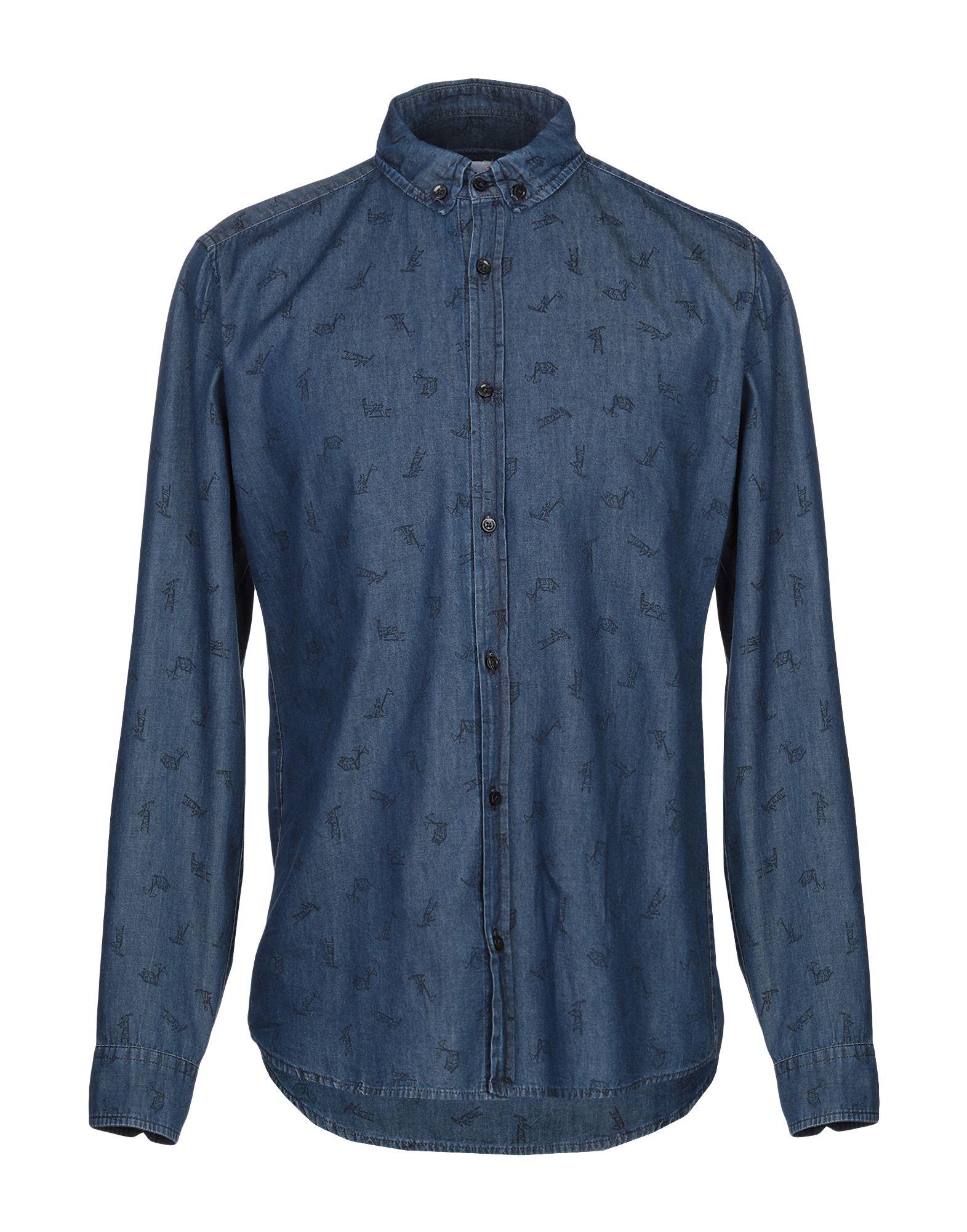《期間限定セール中》BERNA メンズ デニムシャツ ブルー M コットン 100%