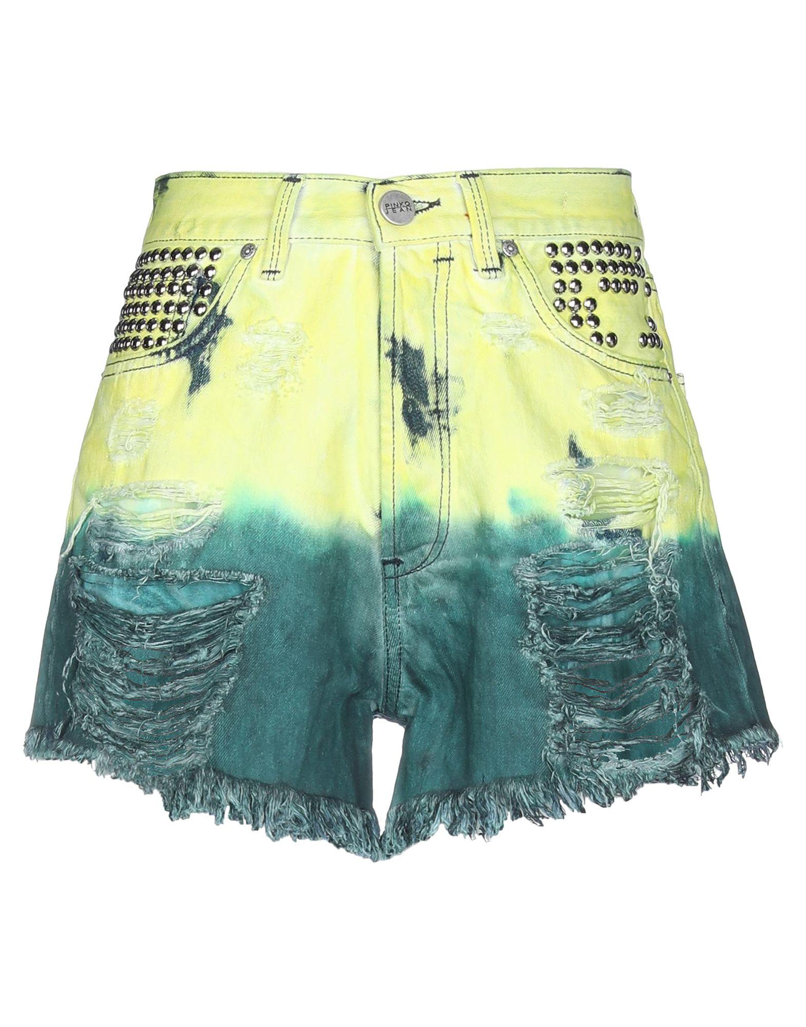 PINKO Джинсовые шорты павловопосадская шерстяная шаль с шелковой бахромой волшебный узор 148х148 см