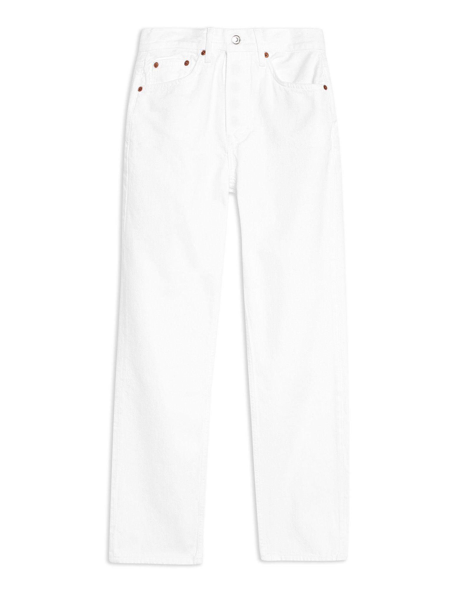《セール開催中》TOPSHOP レディース ジーンズ ホワイト 25W-32L コットン 100% WHITE DAD JEANS