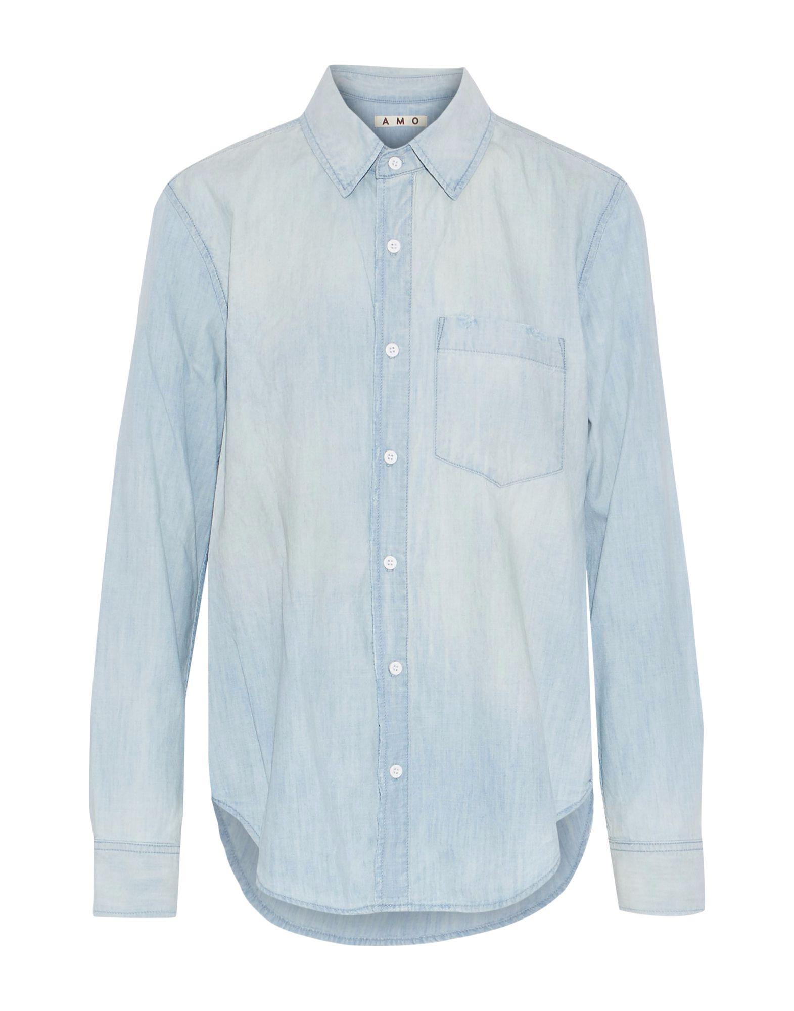 《期間限定セール中》AMO レディース デニムシャツ ブルー M コットン 100%