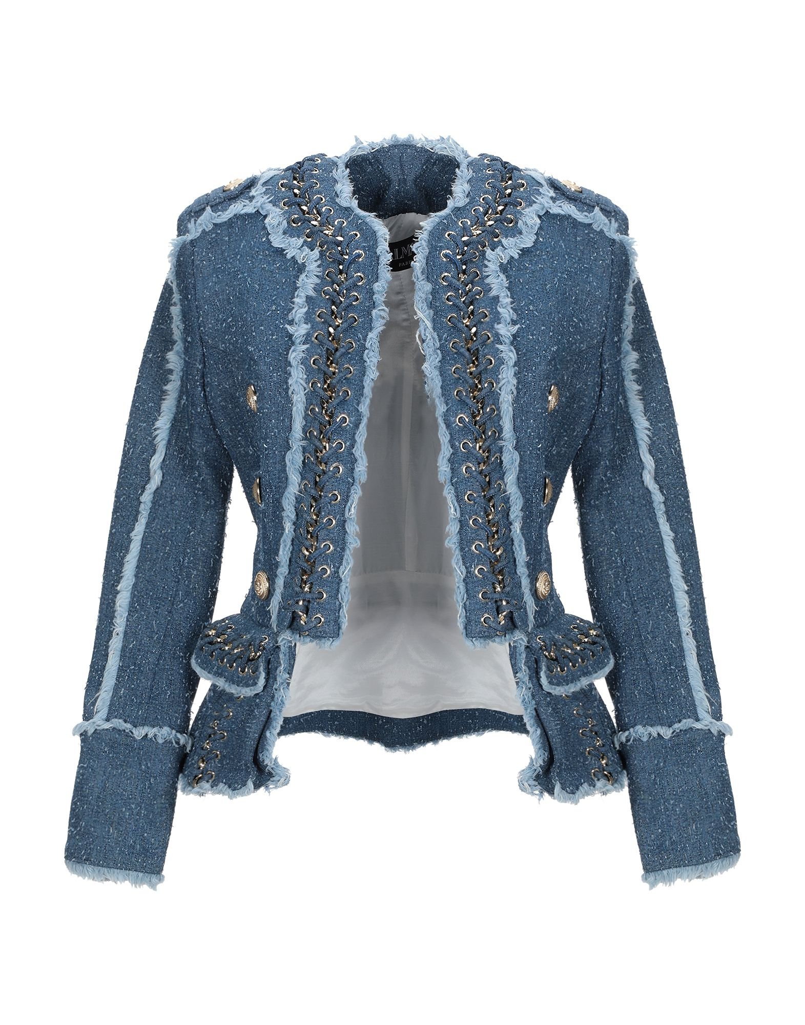 《送料無料》BALMAIN レディース テーラードジャケット ブルー 38 コットン 98% / ポリウレタン 2% / アルミニウム