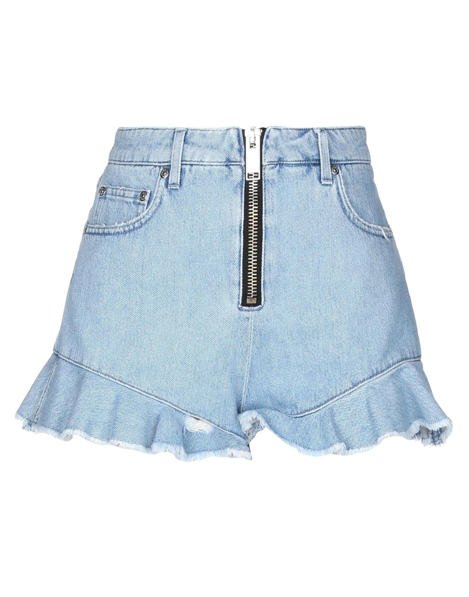 MSGM Denim shorts. denim, logo, solid color, dark wash, high waisted, front closure, zip, multipockets, large sized. 65% Polyester, 35% Cotton
