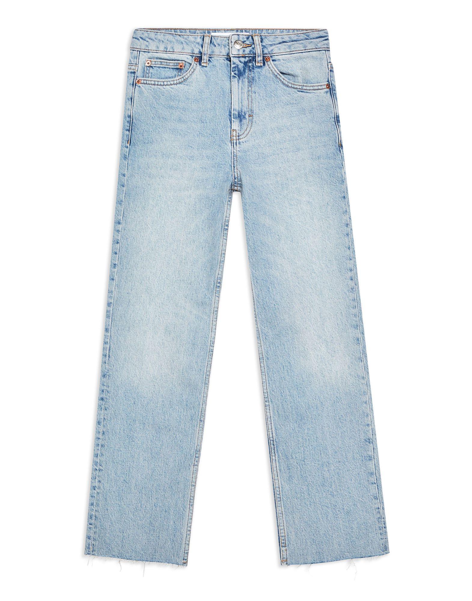 《セール開催中》TOPSHOP レディース ジーンズ ブルー 25W-30L コットン 99% / ポリウレタン 1% BLEACH RAW HEM STRAIGHT LEG JEANS
