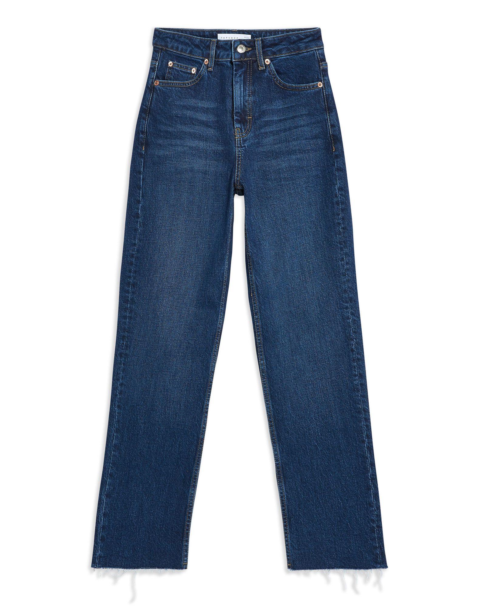 《セール開催中》TOPSHOP レディース ジーンズ ブルー 28W-30L コットン 99% / ポリウレタン 1% INDIGO RAW HEM STRAIGHT LEG JEANS
