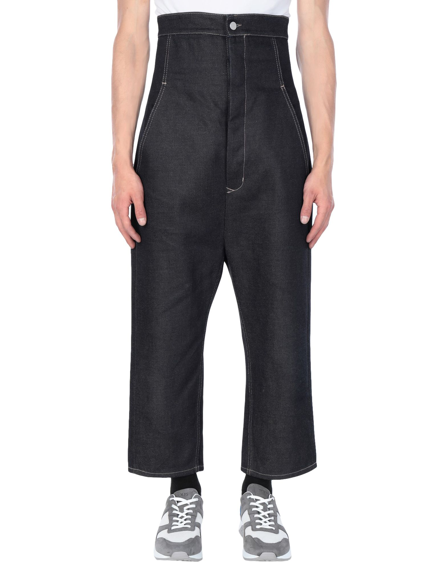 RICK OWENS Jeans. denim, no appliqués, solid color, dark wash, high waisted, front closure, button closing, multipockets. 100% Cotton
