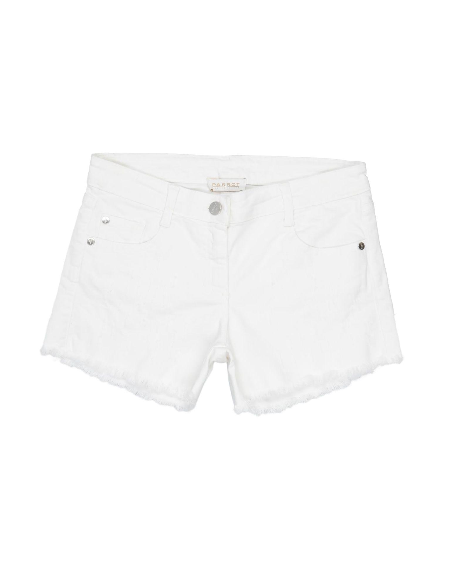 Parrot Kids' Denim Shorts In White