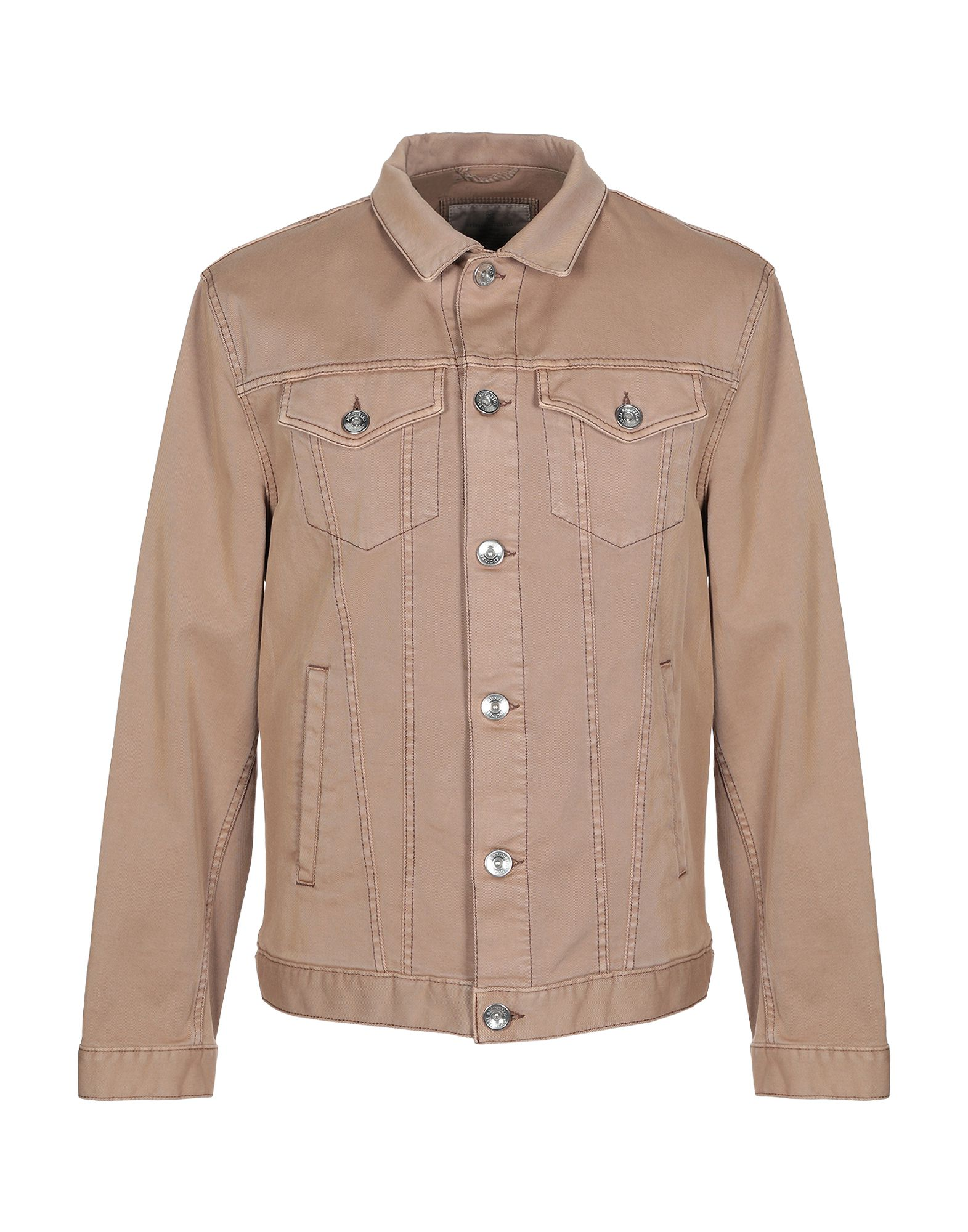 BRUNELLO CUCINELLI Denim outerwear. denim, no appliqués, solid color, colored wash, long sleeves, classic neckline, buttoned cuffs, single-breasted, front closure, button closing, multipockets, unlined, stretch. 98% Cotton, 2% Elastane