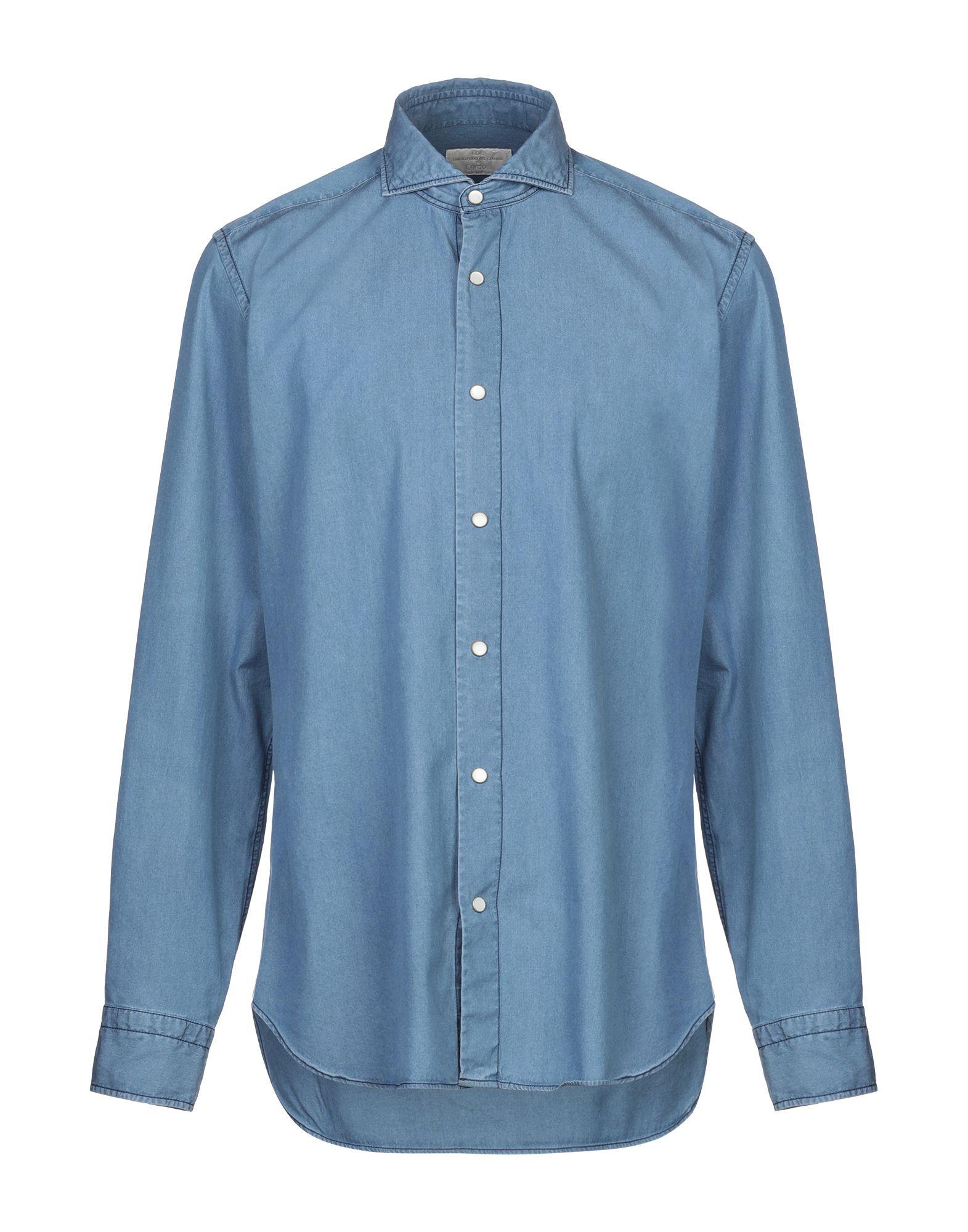 《セール開催中》LABORATORIO DEL CARMINE メンズ デニムシャツ ブルー 41 コットン 100%