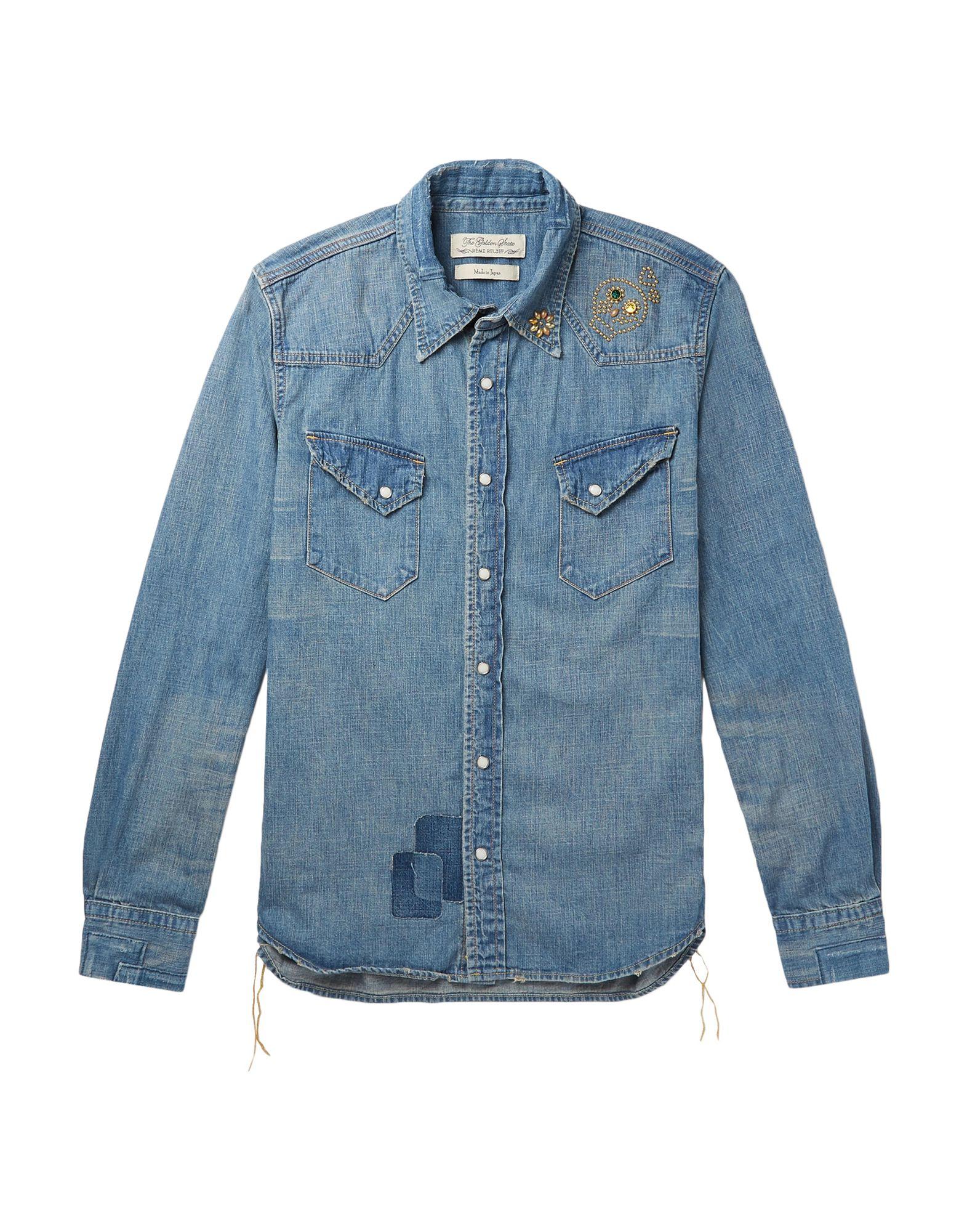 《セール開催中》REMI RELIEF メンズ デニムシャツ ブルー S コットン 100%
