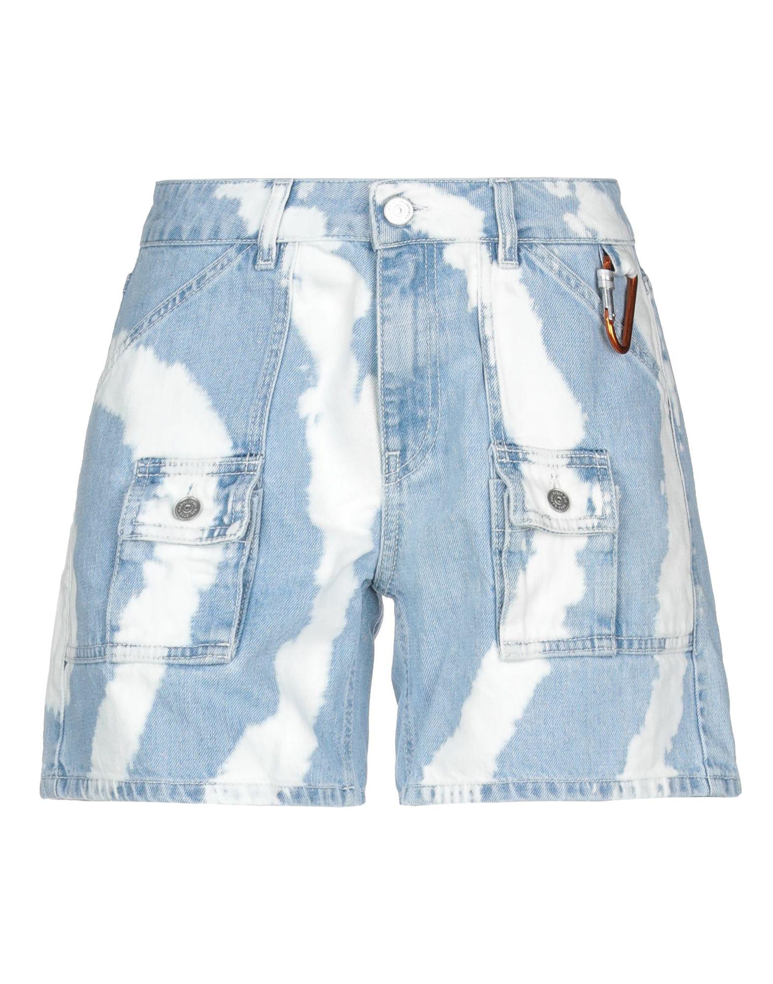 GANNI Denim shorts. denim, detachable application, two-tone, light wash, low waisted, front closure, button, zip, multipockets. 100% Cotton