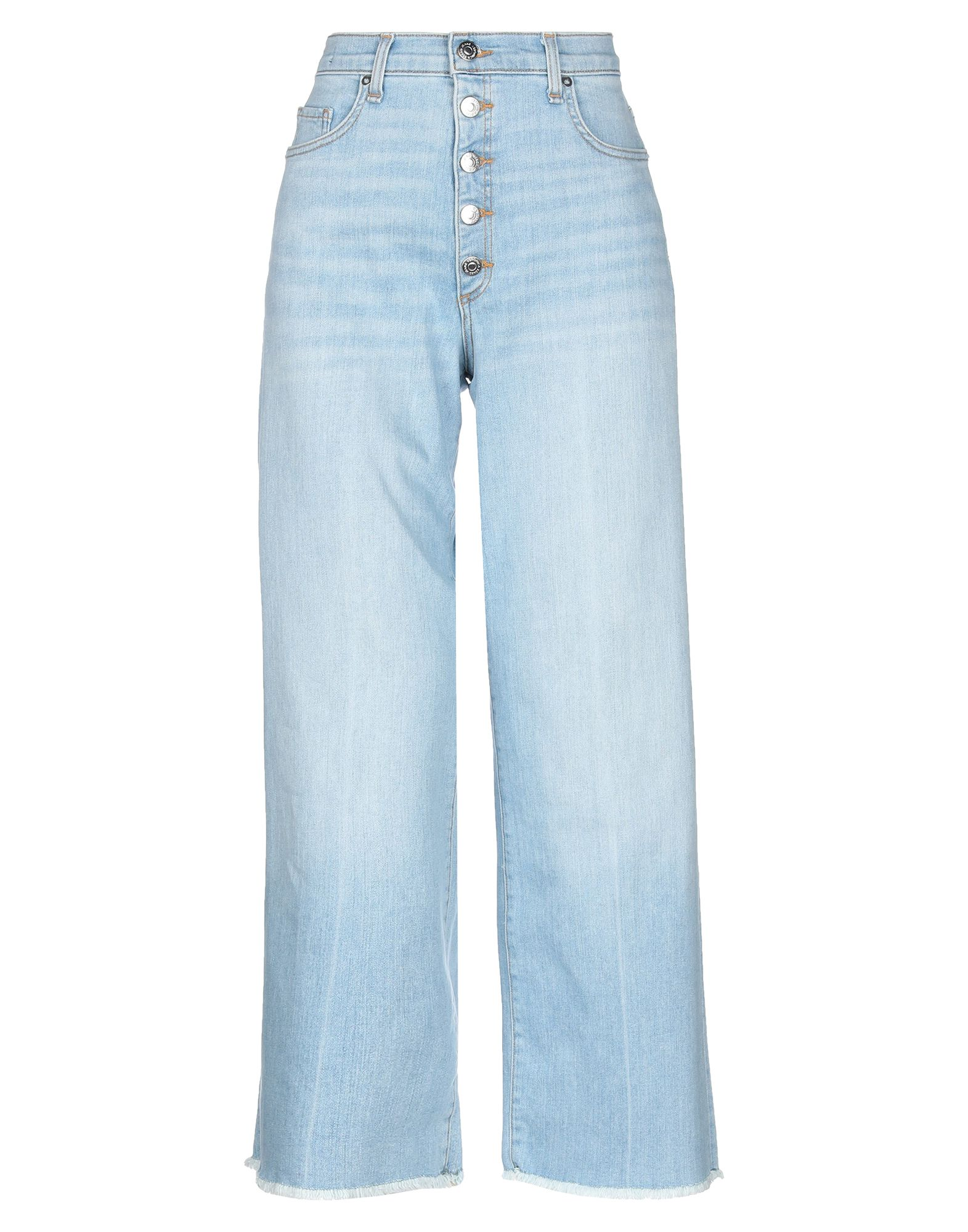 VERONICA BEARD Jeans. denim, faded, no appliqués, solid color, light wash, high waisted, front closure, button closing, multipockets, fringed hem, stretch. 92% Cotton, 6% Elastomultiester, 2% Elastane
