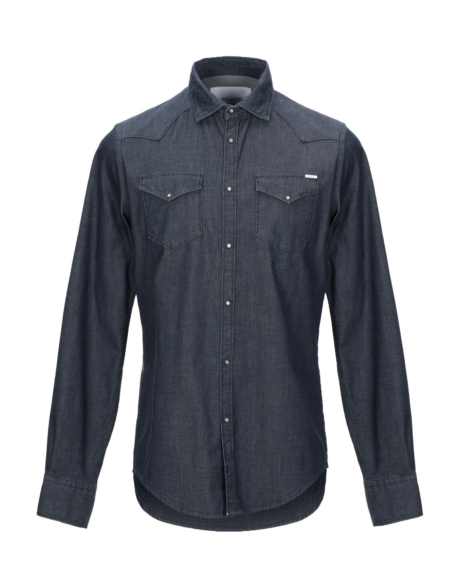 《セール開催中》AGLINI メンズ デニムシャツ ブルー 38 コットン 98% / ポリウレタン 2%