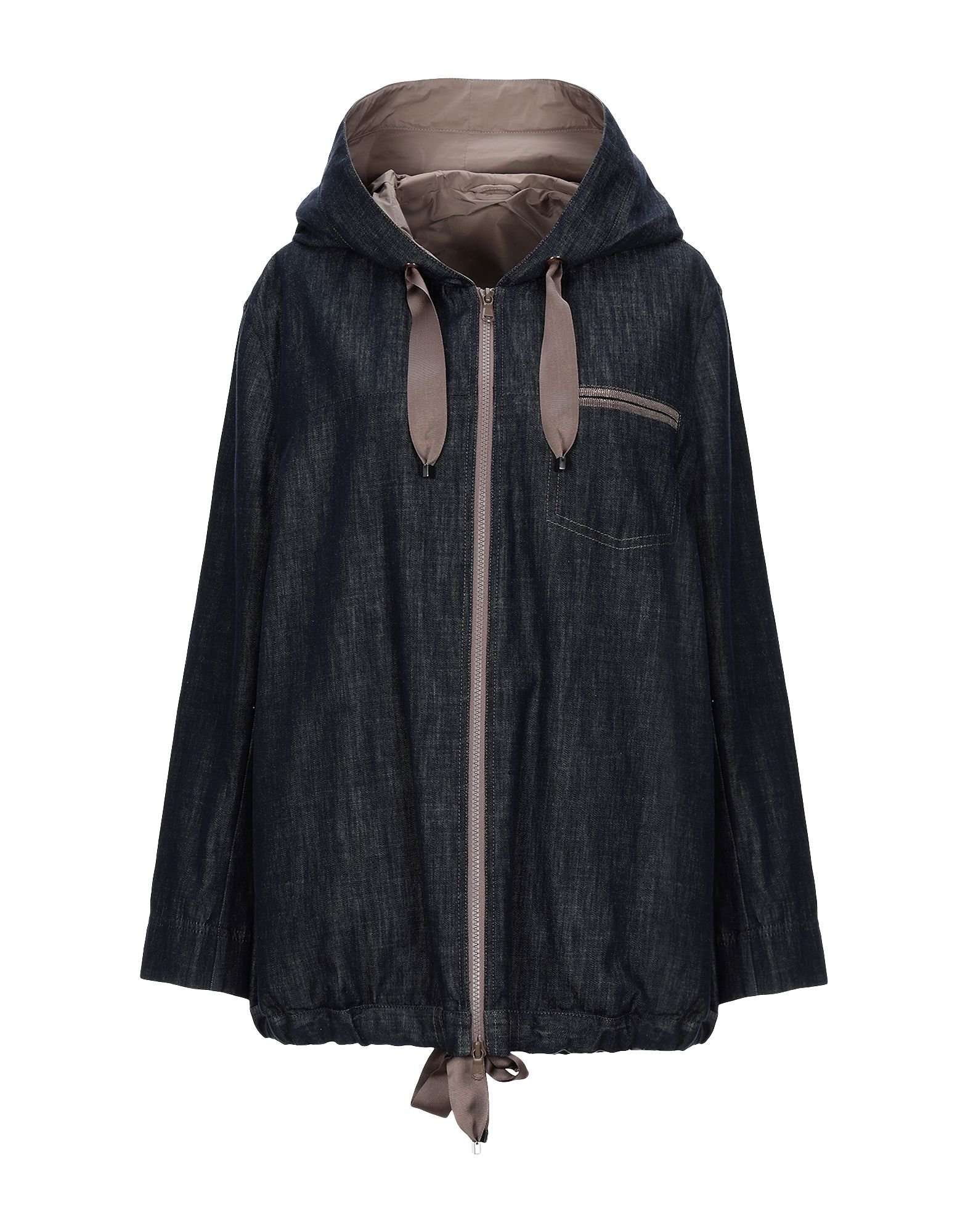 BRUNELLO CUCINELLI Denim outerwear. denim, contrasting applications, solid color, dark wash, long sleeves, hooded collar, single-breasted, front closure, zip, multipockets, semi-lined. 100% Cotton