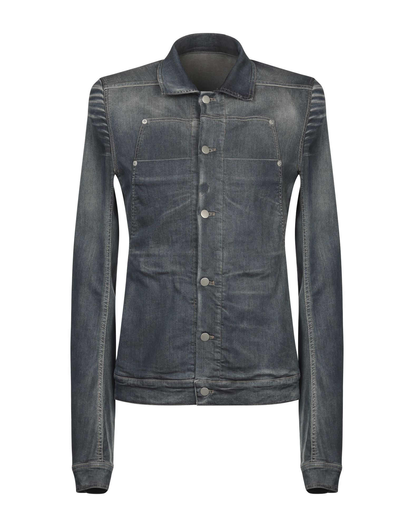 RICK OWENS Denim outerwear. denim, faded, no appliqués, solid color, dark wash, long sleeves, classic neckline, buttoned cuffs, single-breasted, front closure, button closing, multipockets, fully lined. 97% Cotton, 3% Lycra®