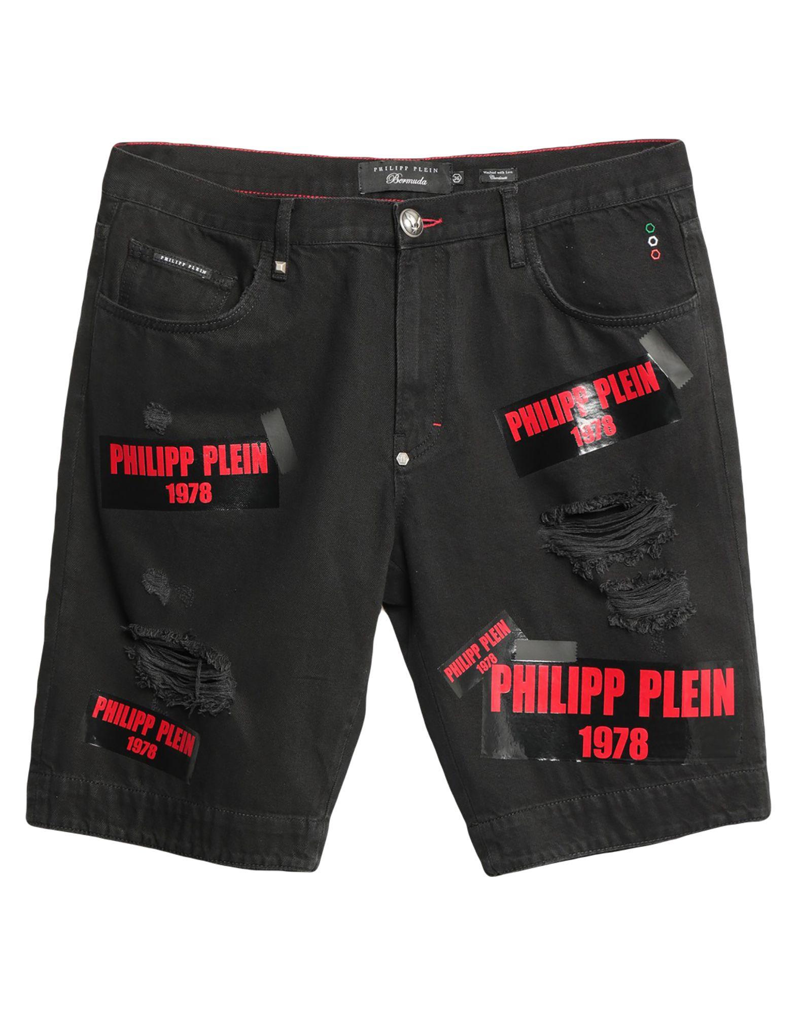 《セール開催中》PHILIPP PLEIN メンズ デニムバミューダパンツ ブラック 31 コットン 100%