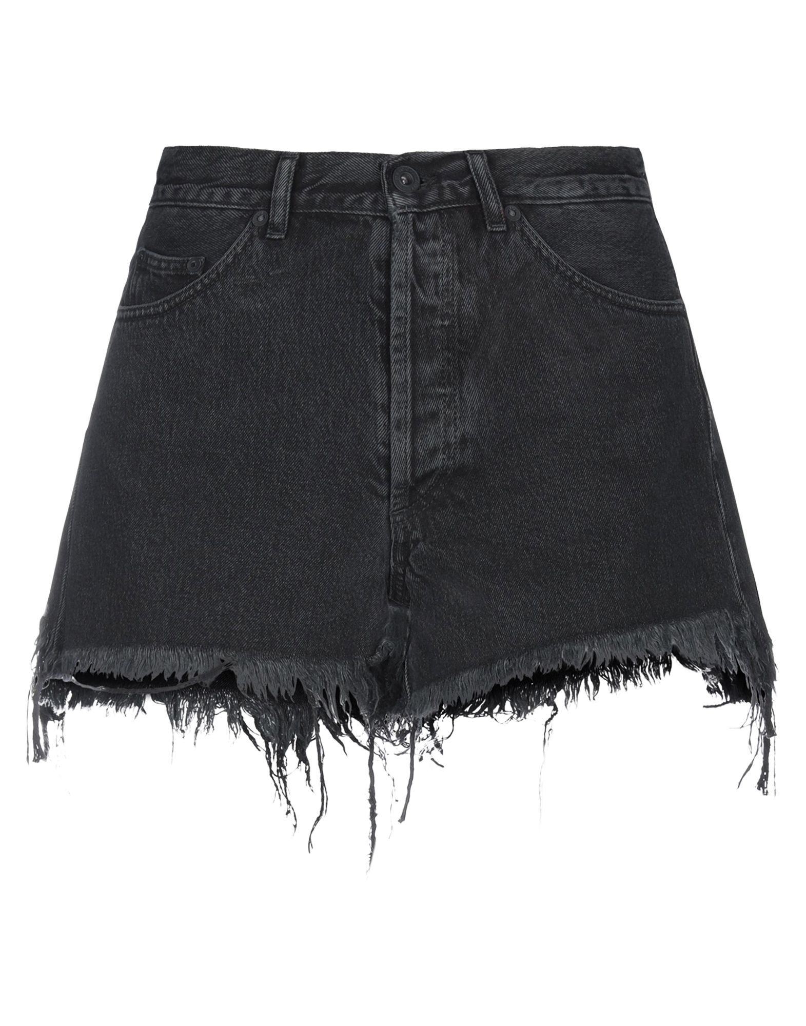 OFF-WHITE™ Denim shorts. denim, logo, solid color, colored wash, mid rise, front closure, button closing, multipockets, raw-cut hem. 100% Cotton