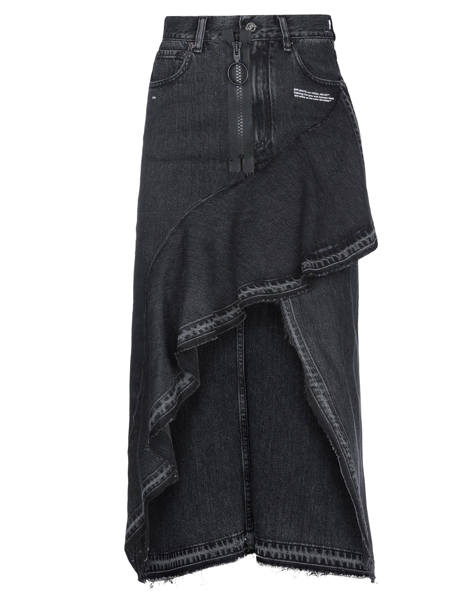 OFF-WHITE™ Denim skirts. denim, print, logo, solid color, colored wash, belt loops, front closure, zip, multipockets, raw-cut hem. 100% Cotton
