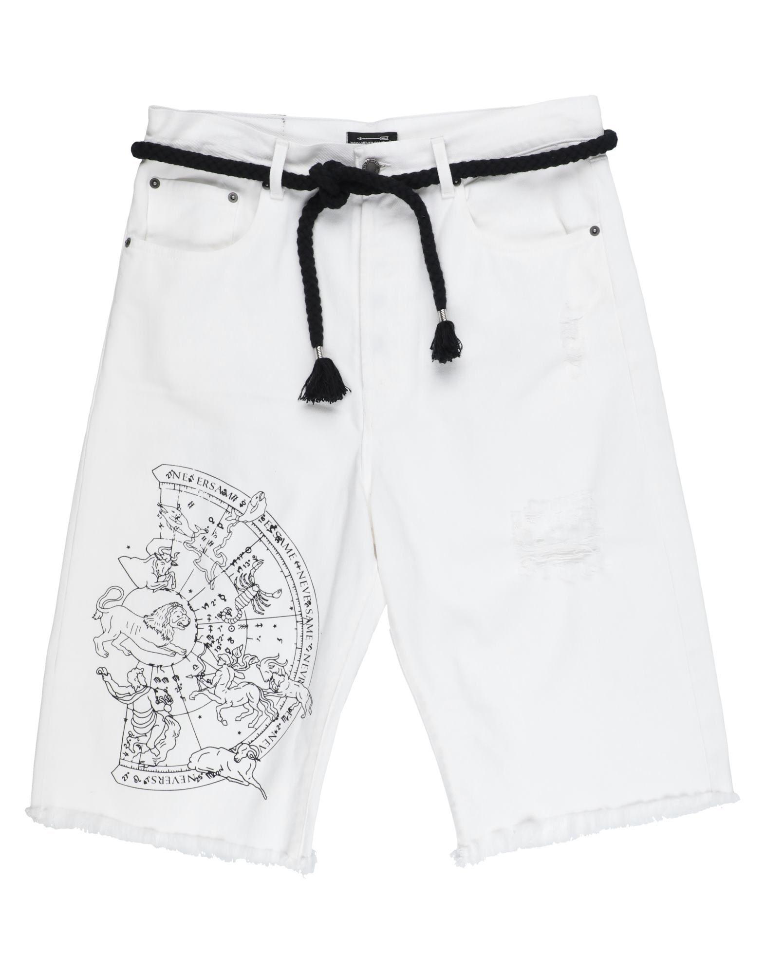 《セール開催中》NEVERSAME メンズ デニムバミューダパンツ ホワイト 44 コットン 100%