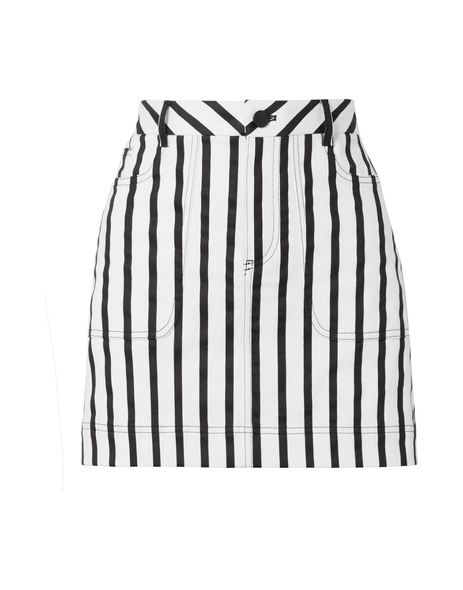 ALICE + OLIVIA Denim skirts. denim, no appliqués, stripes, colored wash, belt loops, front closure, button, zip, multipockets, unlined, stretch. 86% Cotton, 11% Polyester, 3% Elastane