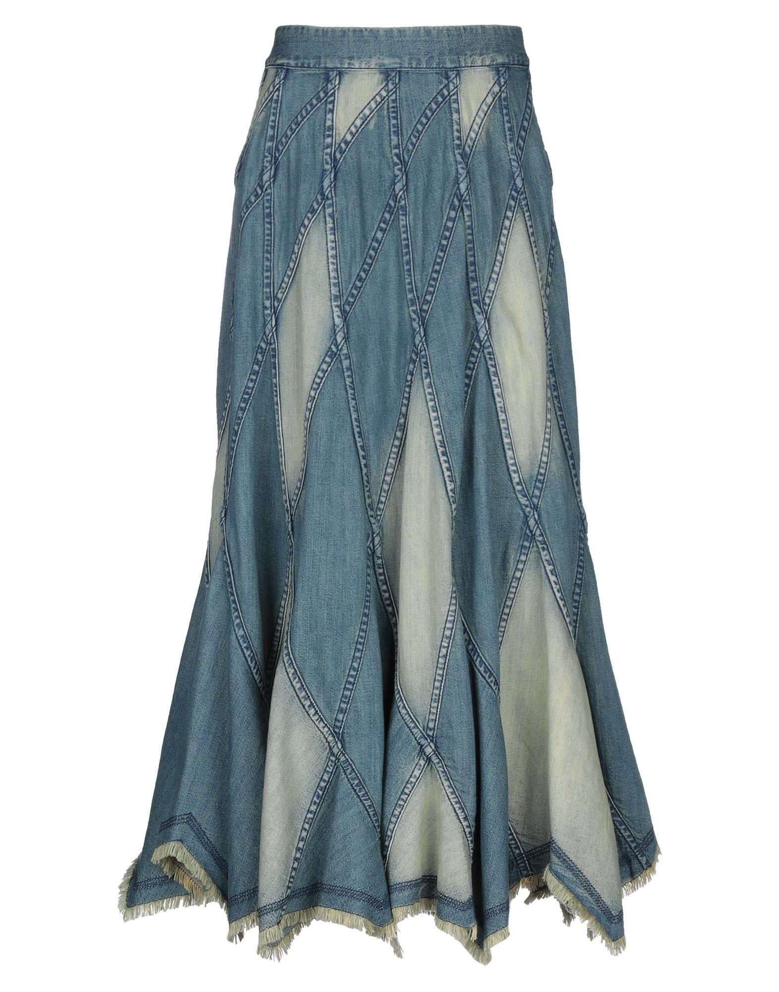 ALICE + OLIVIA Denim skirts. denim, no appliqués, solid color, medium wash, mid rise, rear closure, hook-and-bar, zip, unlined, no pockets. 100% Cotton