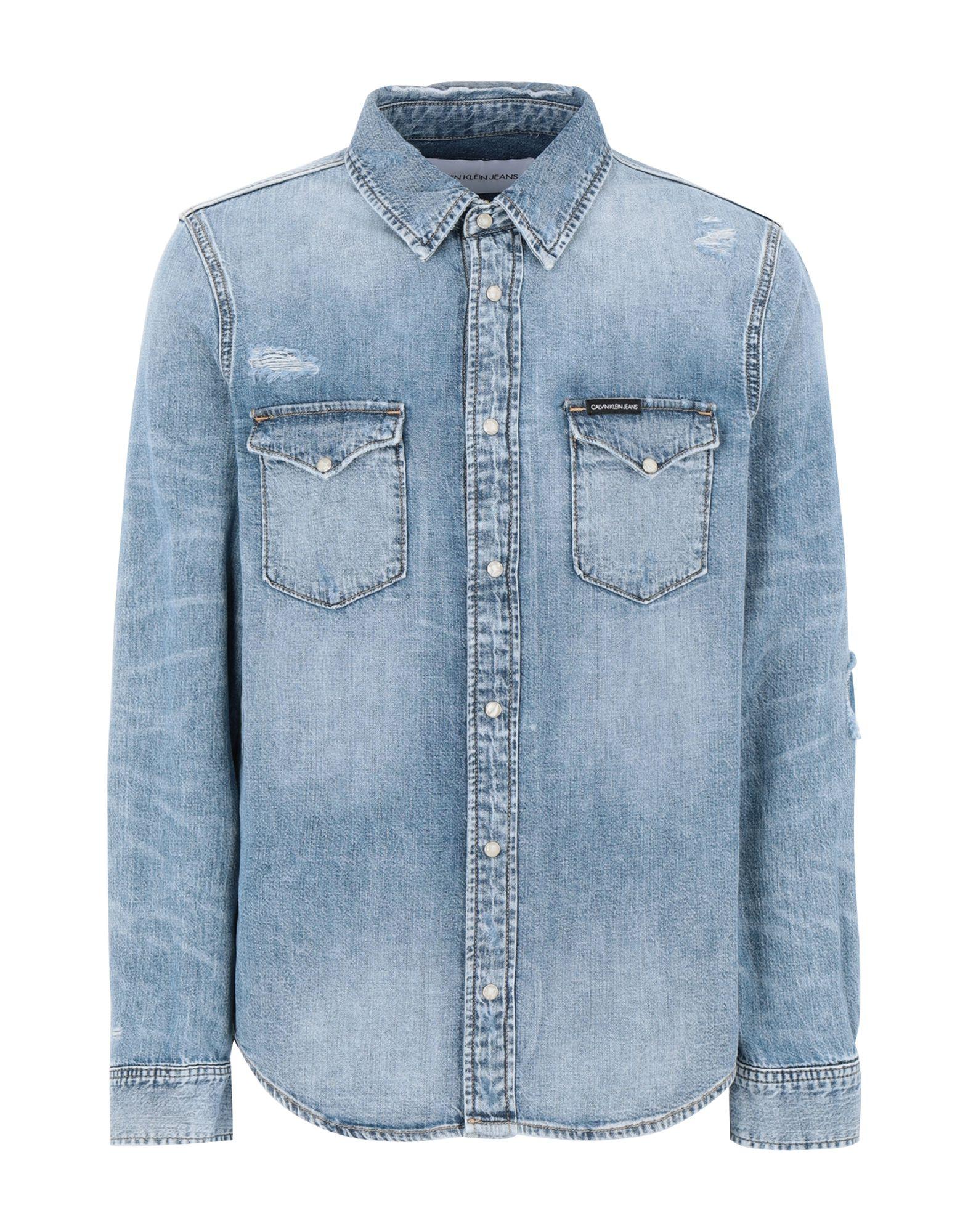 《セール開催中》CALVIN KLEIN JEANS メンズ デニムシャツ ブルー L コットン 100% MODERN WESTERN SHIRT