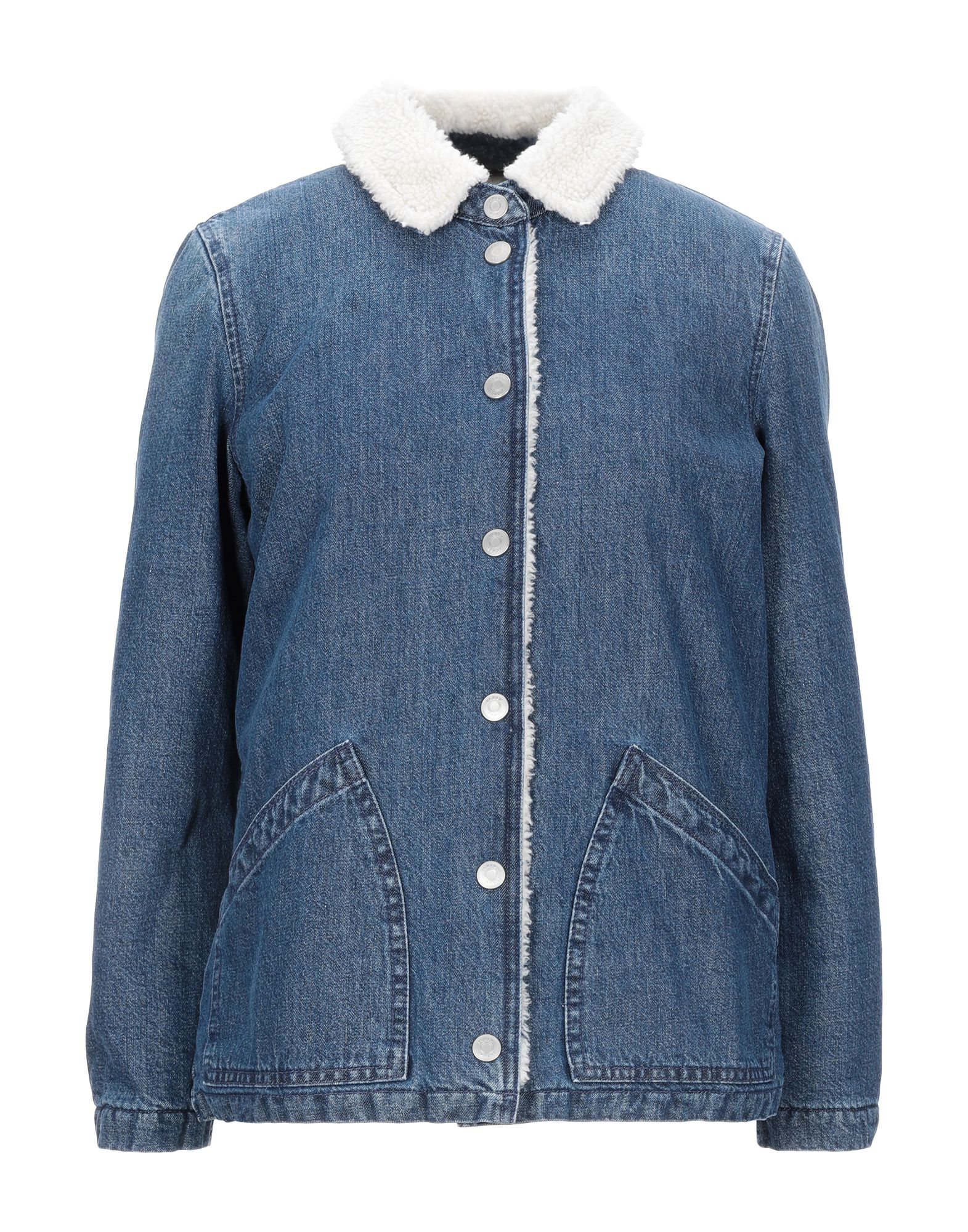 J.CREW Denim outerwear. denim, no appliqués, solid color, medium wash, long sleeves, classic neckline, single-breasted, front closure, snap buttons fastening, multipockets, faux fur inner. 100% Cotton, Polyester