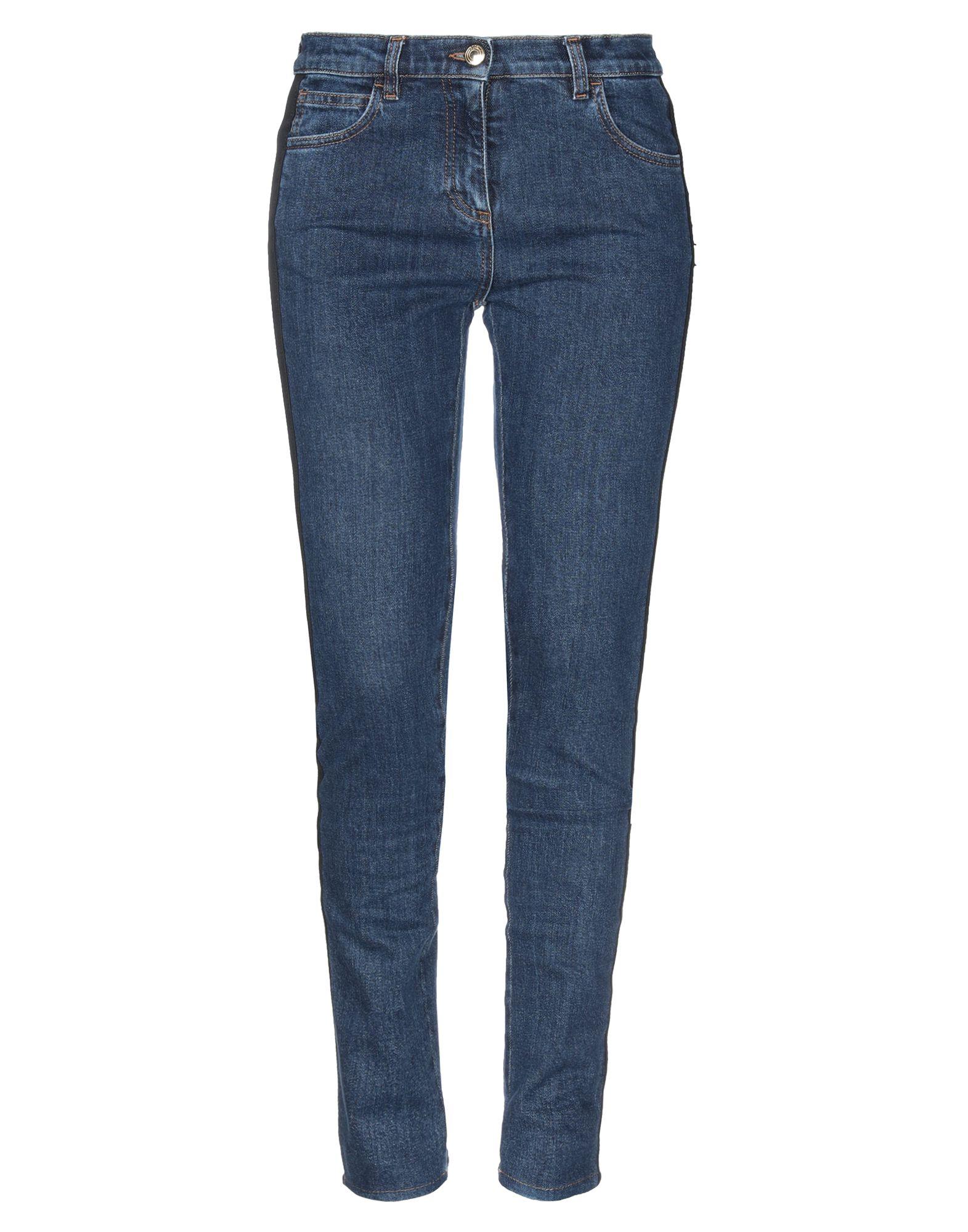 GCDS Jeans. denim, logo, side seam stripes, solid color, medium wash, mid rise, front closure, button, zip, multipockets, stretch, contains non-textile parts of animal origin. 98% Cotton, 2% Elastane