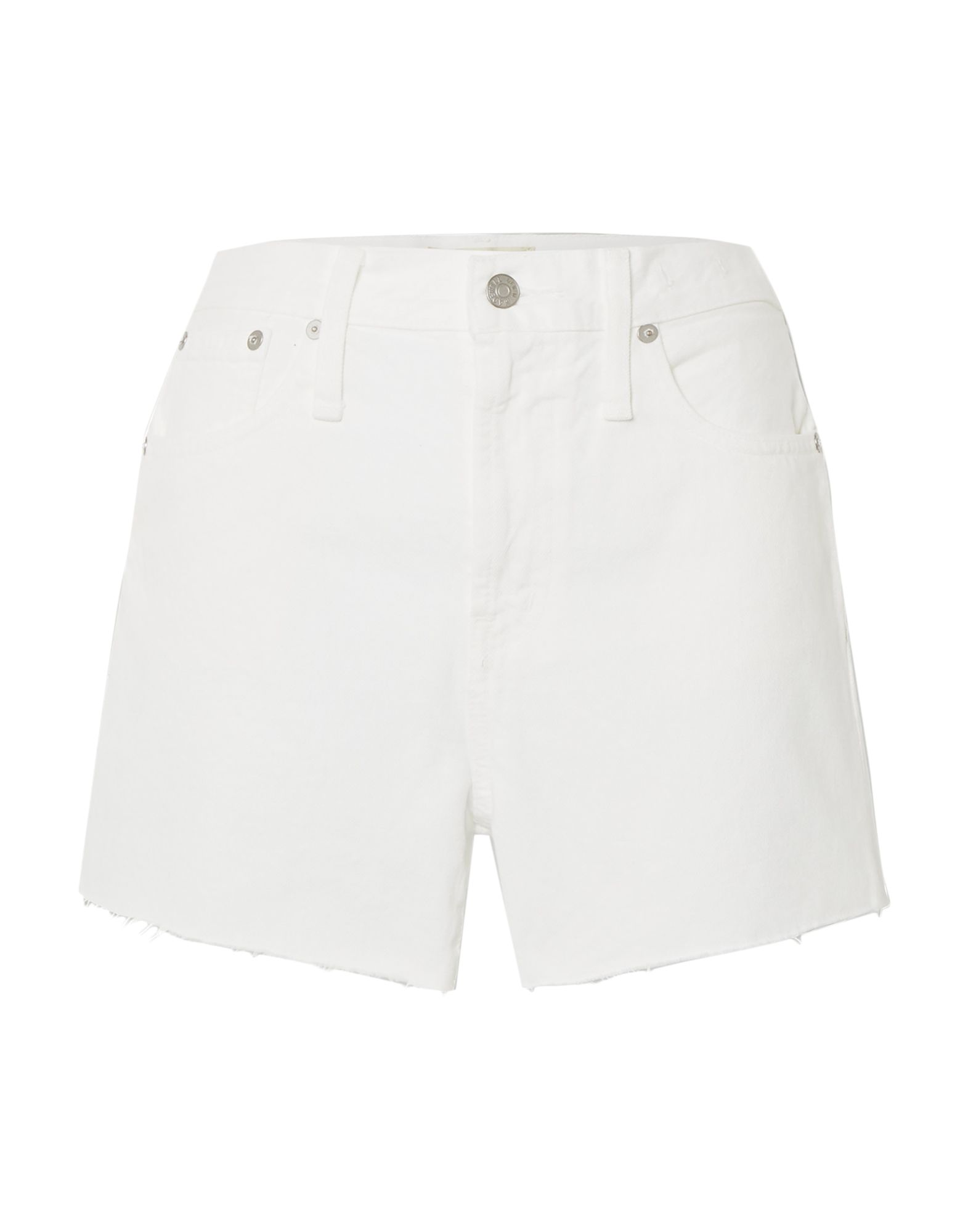 MADEWELL Denim shorts. denim, no appliqués, solid color, colored wash, mid rise, button, zip, multipockets, fringed hem. 100% Cotton