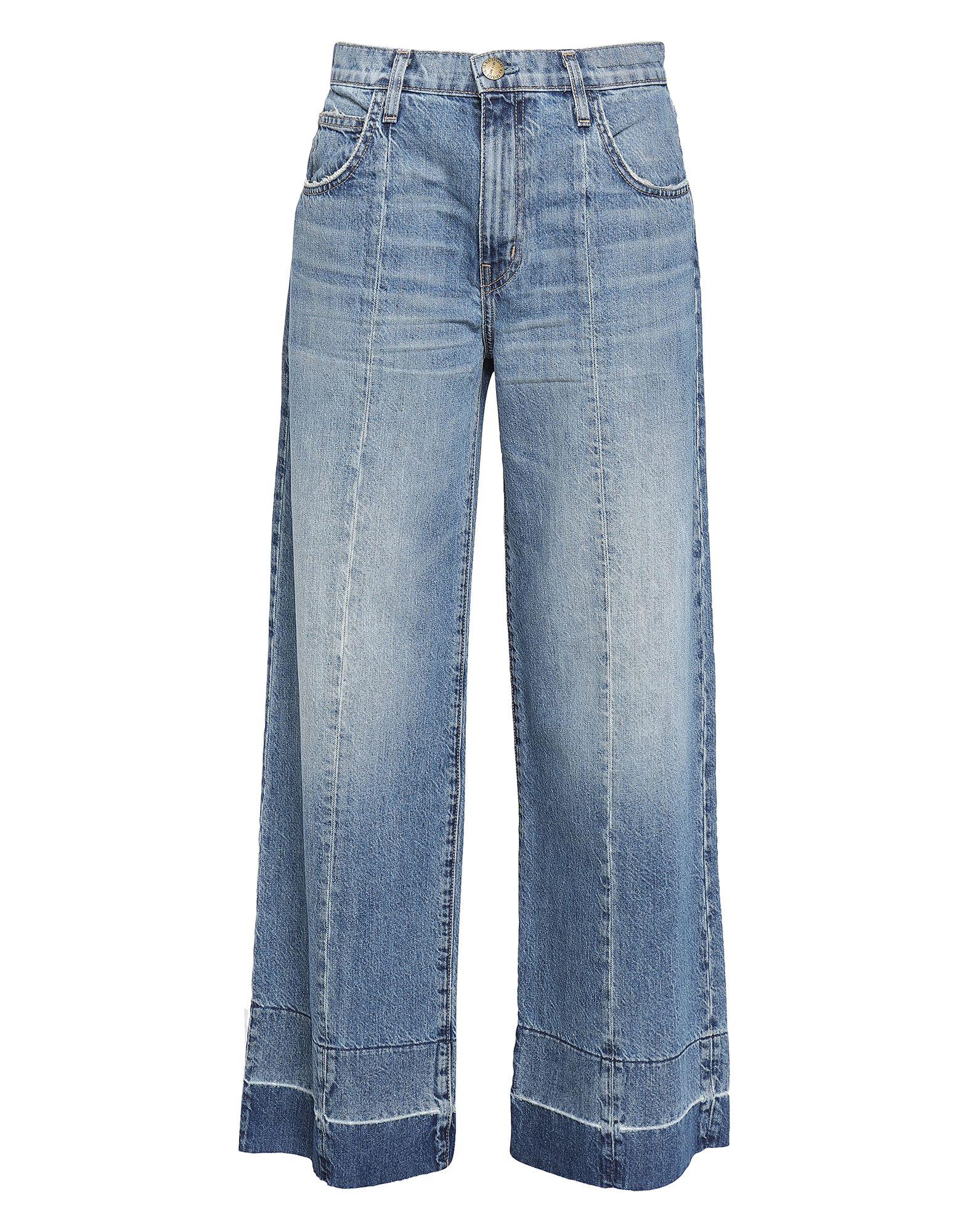 Фото - CURRENT/ELLIOTT Джинсовые брюки plus striped wide leg pants with belt