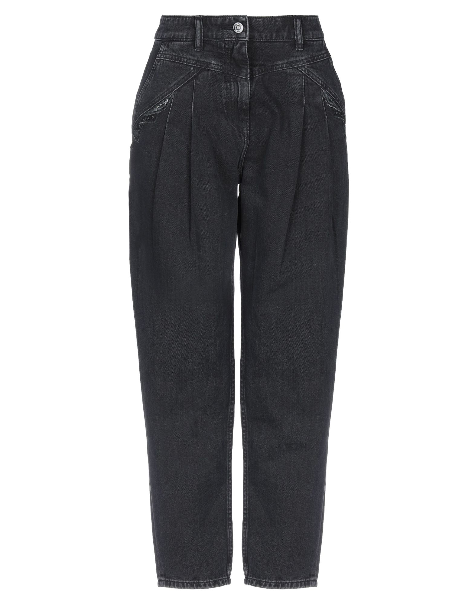 COACH Jeans. denim, embroidered detailing, darts, solid color, colored wash, high waisted, front closure, button, zip, multipockets. 100% Cotton
