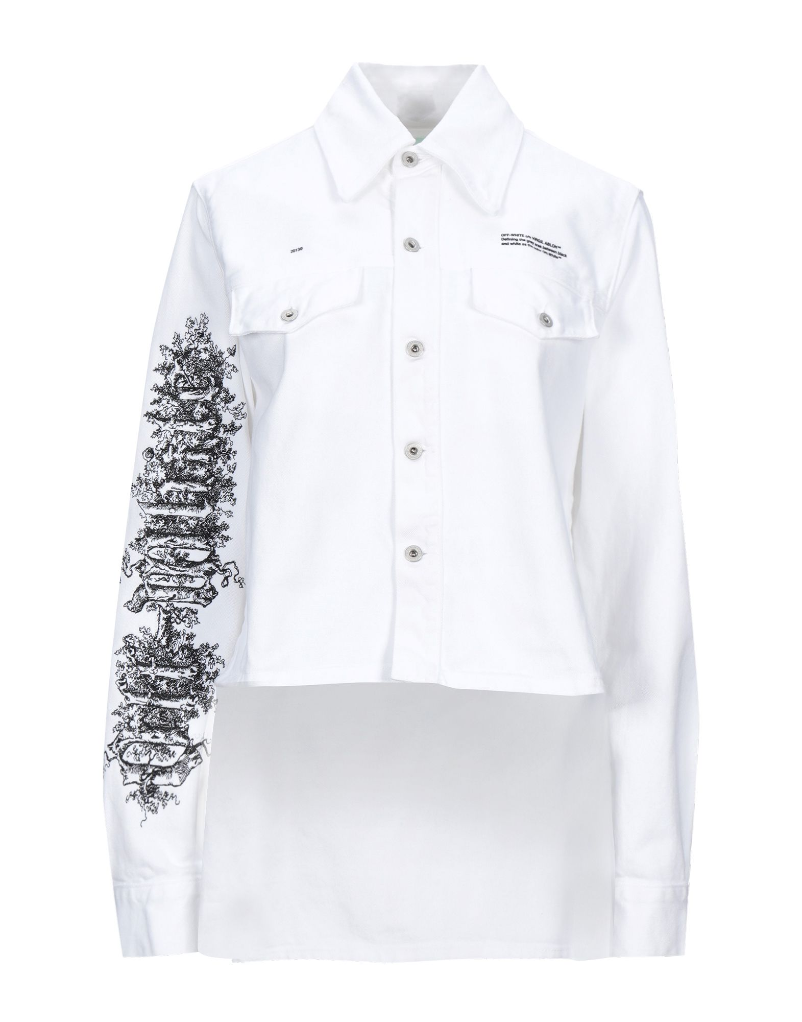 OFF-WHITE™ Denim outerwear. denim, embroidered detailing, logo, solid color, colored wash, long sleeves, classic neckline, single-breasted, multipockets. 100% Cotton
