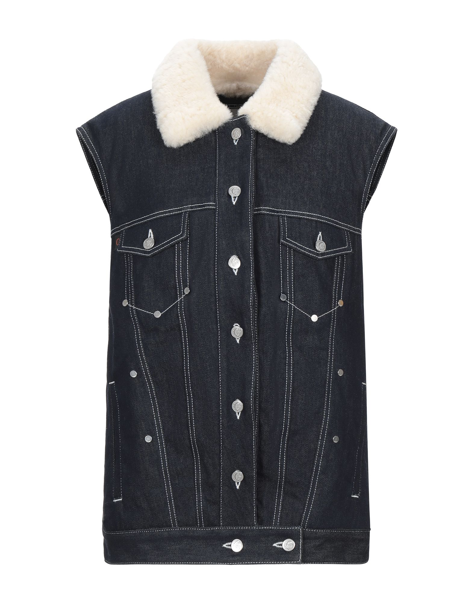 CHLOÉ Denim outerwear. denim, no appliqués, solid color, dark wash, sleeveless, front closure, button closing, multipockets, internal padding, contains non-textile parts of animal origin, single-breasted, classic neckline, stretch. 98% Cotton, 2% Elastane, Shearling