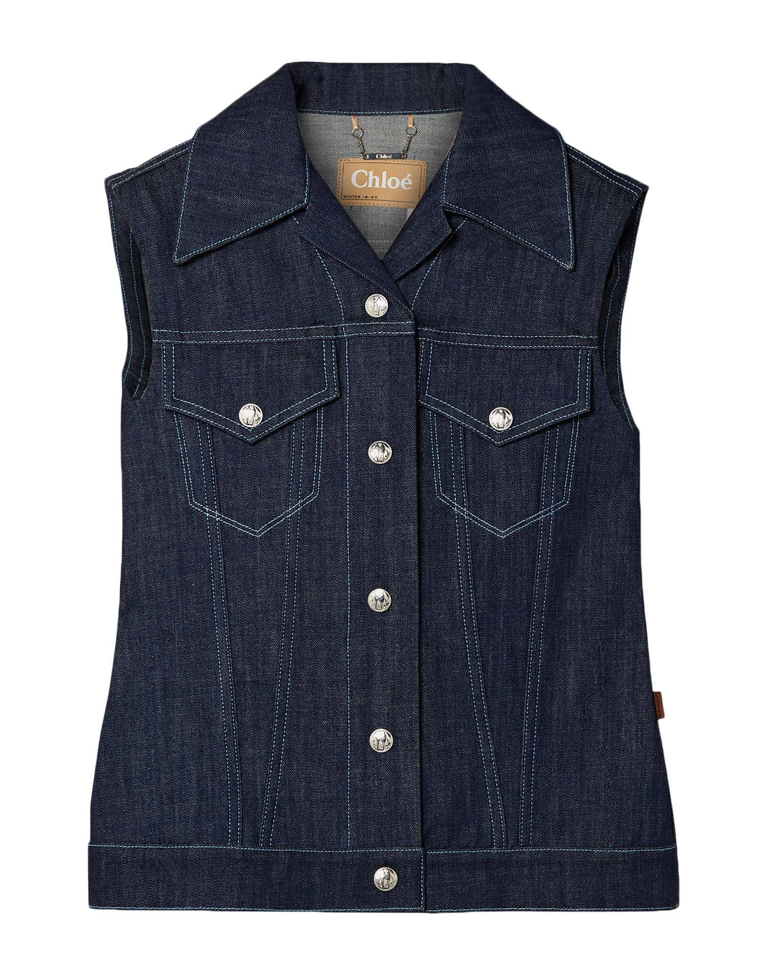 CHLOÉ Denim outerwear. denim, logo, contrasting applications, solid color, medium wash, front closure, classic neckline, single-breasted, button closing, multipockets, unlined, sleeveless, contains non-textile parts of animal origin. 100% Cotton, Polyester, Ceramic, Bovine leather