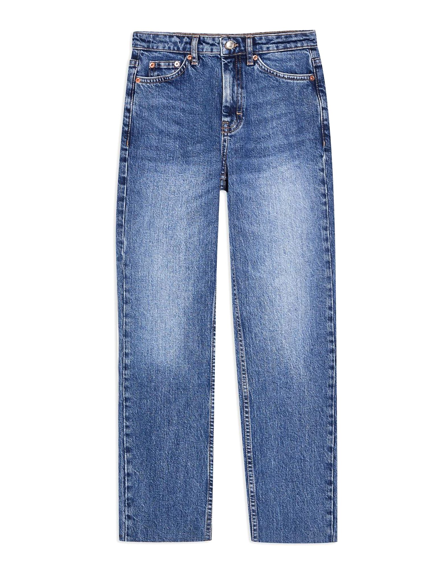 《セール開催中》TOPSHOP レディース ジーンズ ブルー 24W-32L コットン 99% / ポリウレタン 1% MID BLUE STRAIGHT LEG JEANS